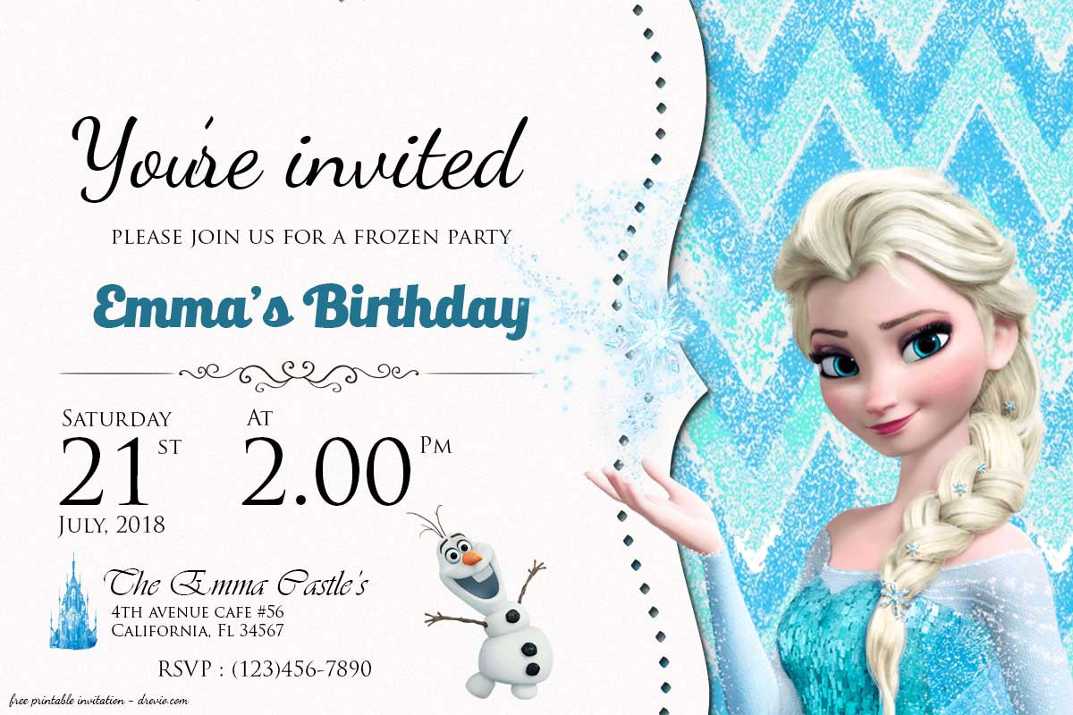 Frozen Printable Birthday Invitations Free Frozen Birthday Invitation Templates