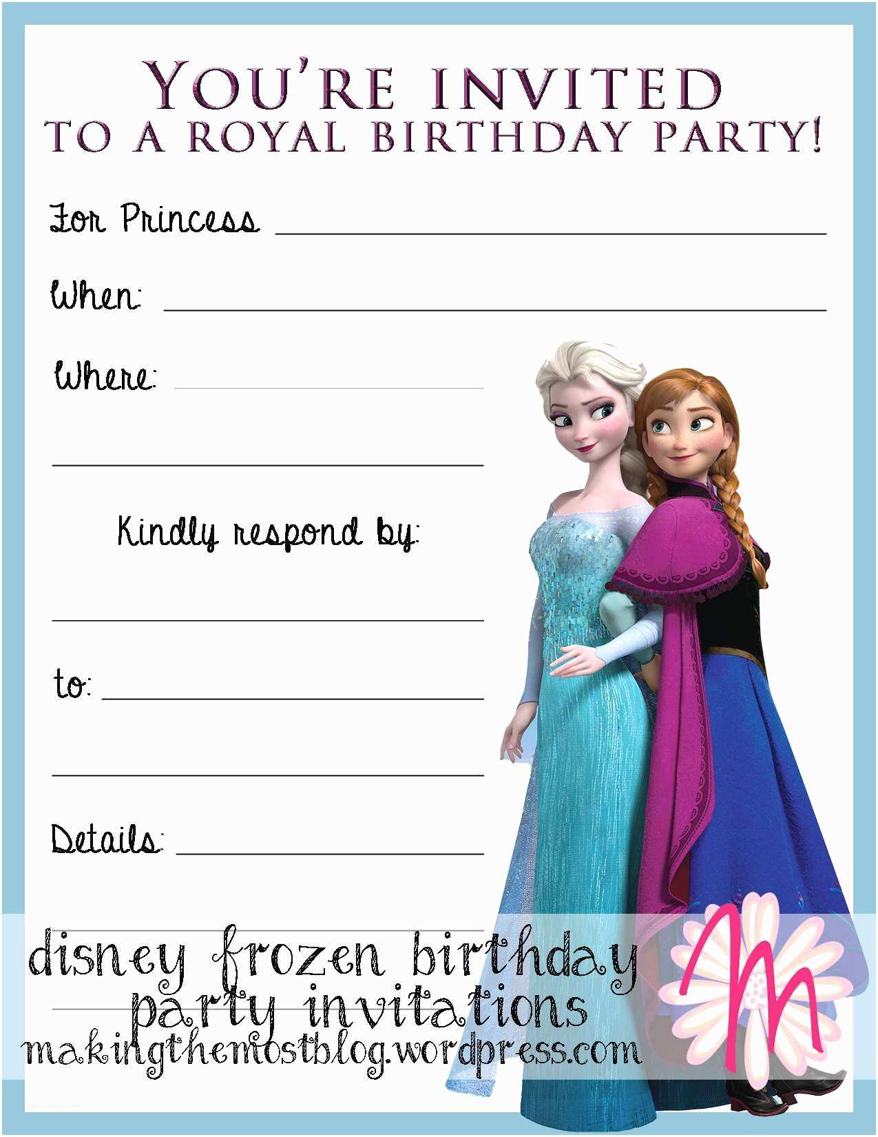 Frozen Printable Birthday Invitations Frozen Birthday Party Invitations Frozen Birthday