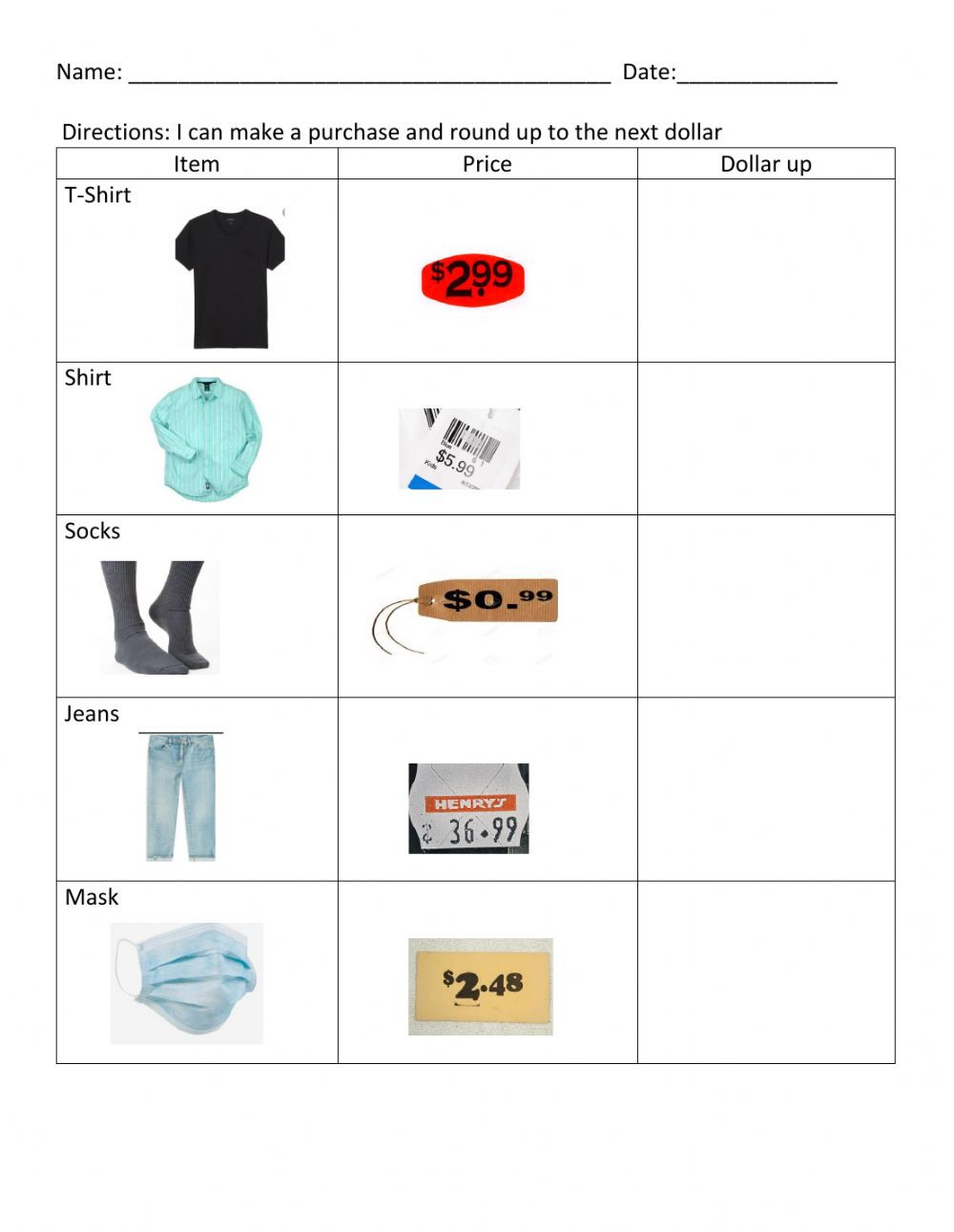 Functional Math Worksheets Special Education Dollar Up 1 Interactive Worksheet