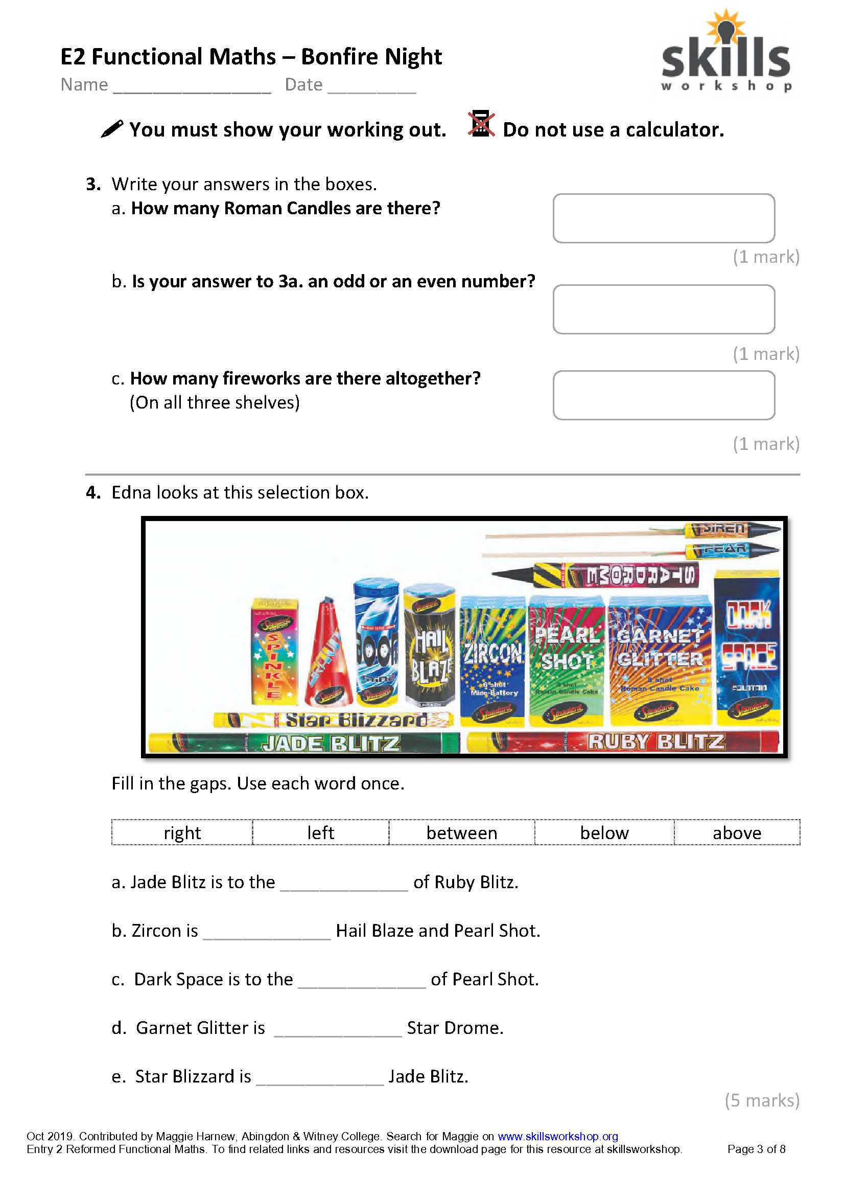 Functional Maths Worksheets Bonfire Night Maths for Entry 2 Functional Skills