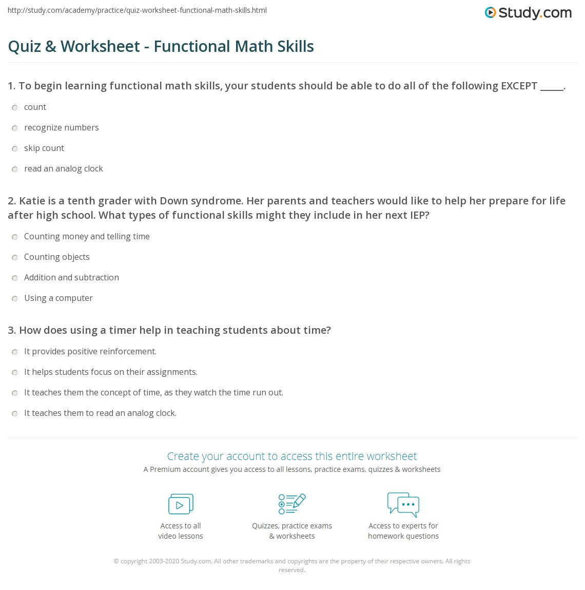 Functional Maths Worksheets Quiz & Worksheet Functional Math Skills