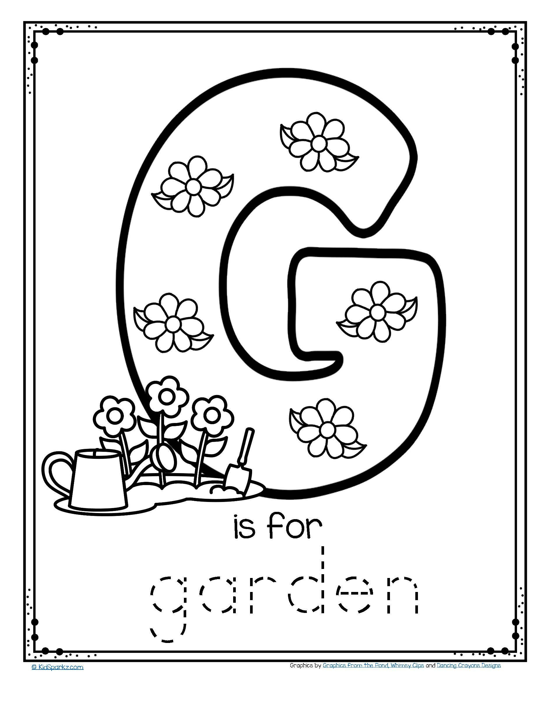 G Worksheets for Preschool Free G is for Garden Trace and Color Fine Motor Printable