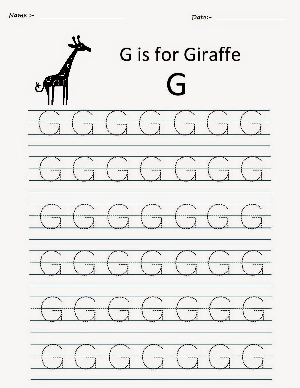 G Worksheets for Preschool Kindergarten Worksheets Printable Tracing Worksheets