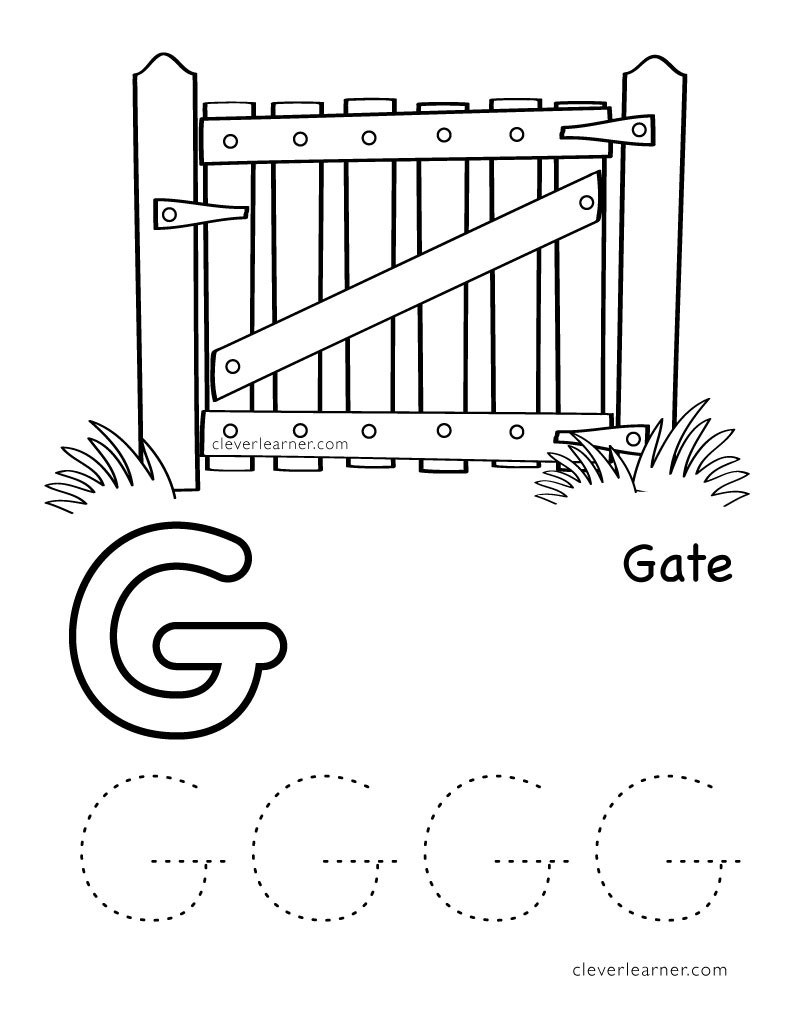 G Worksheets for Preschool Letter G Writing and Coloring Sheet