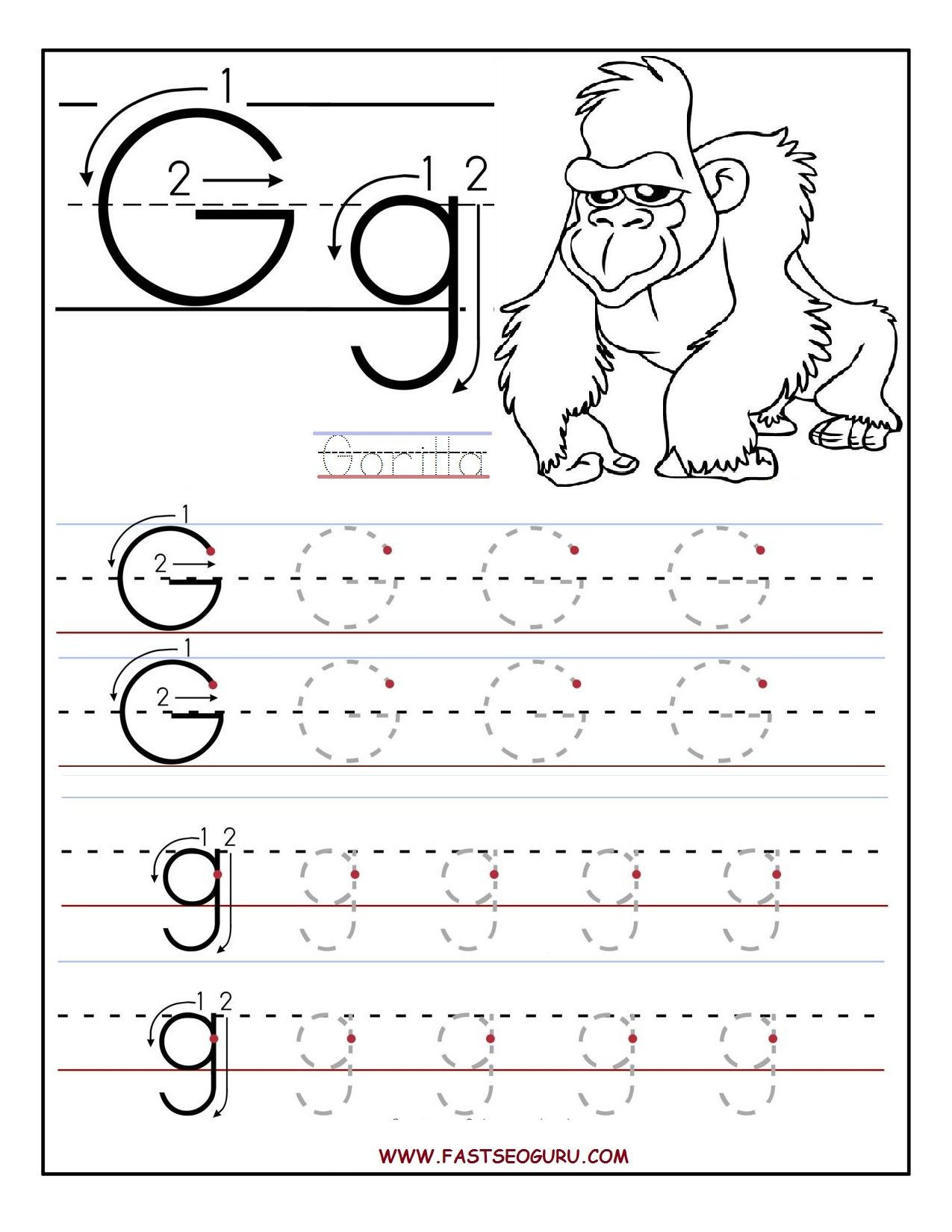 G Worksheets for Preschool Printable Letter G Tracing Worksheets for Preschool