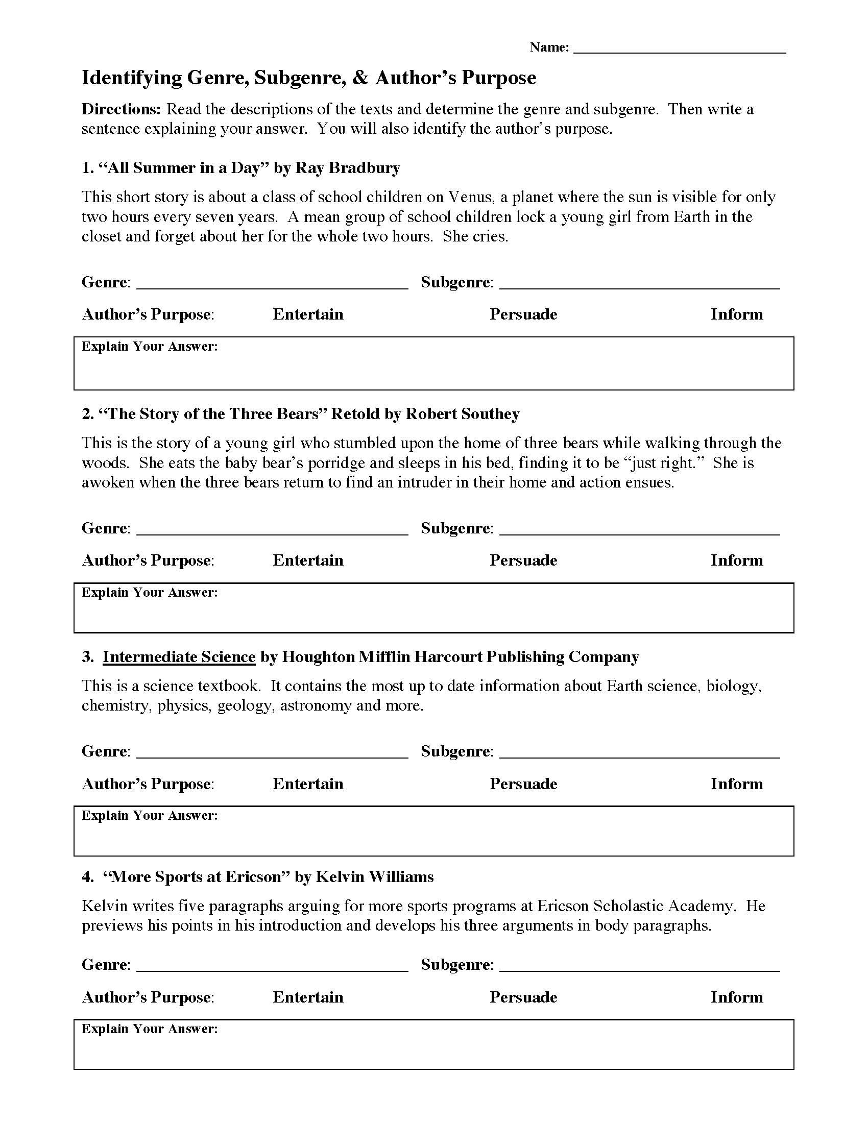 Genre Worksheets 4th Grade Genre Worksheet 1 Answers Promotiontablecovers