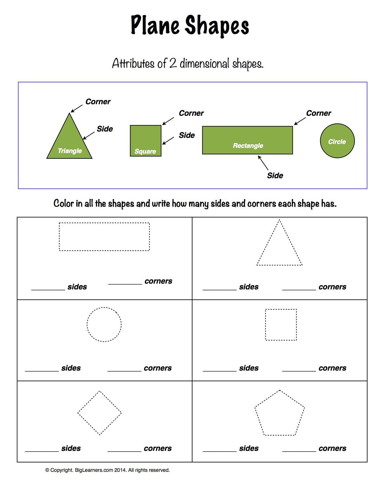 Geometric Shapes Worksheet 2nd Grade Worksheet Plane Shapes