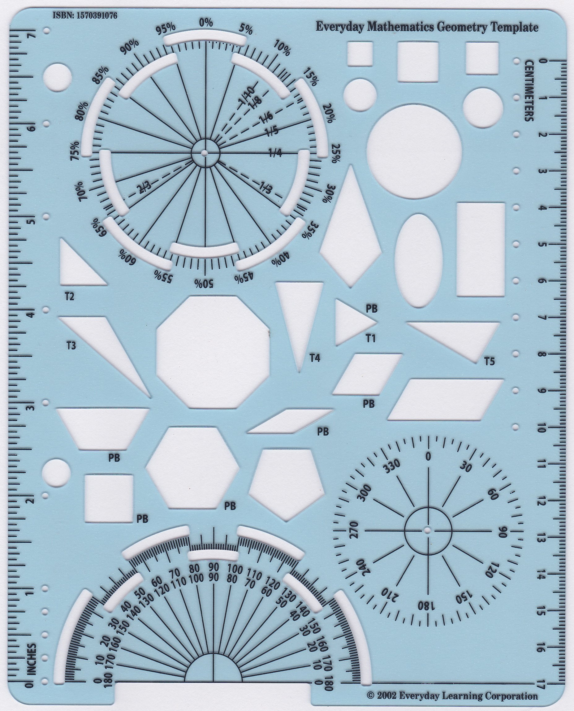 Geometry Template Printable Everyday Mathematics Geometry Template