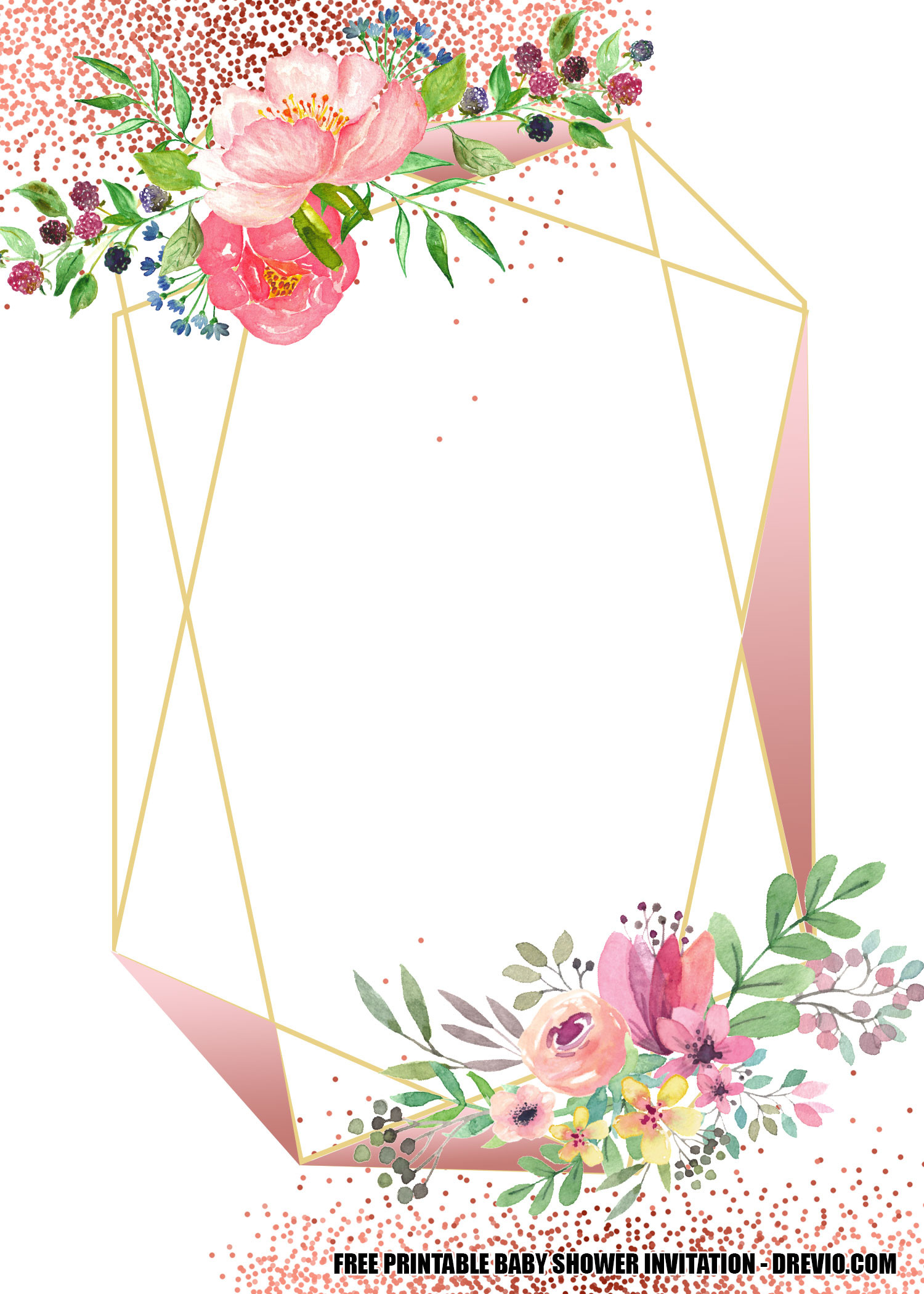 Geometry Template Printable Free Blush Floral Rose Gold Geometry Invitation Templates