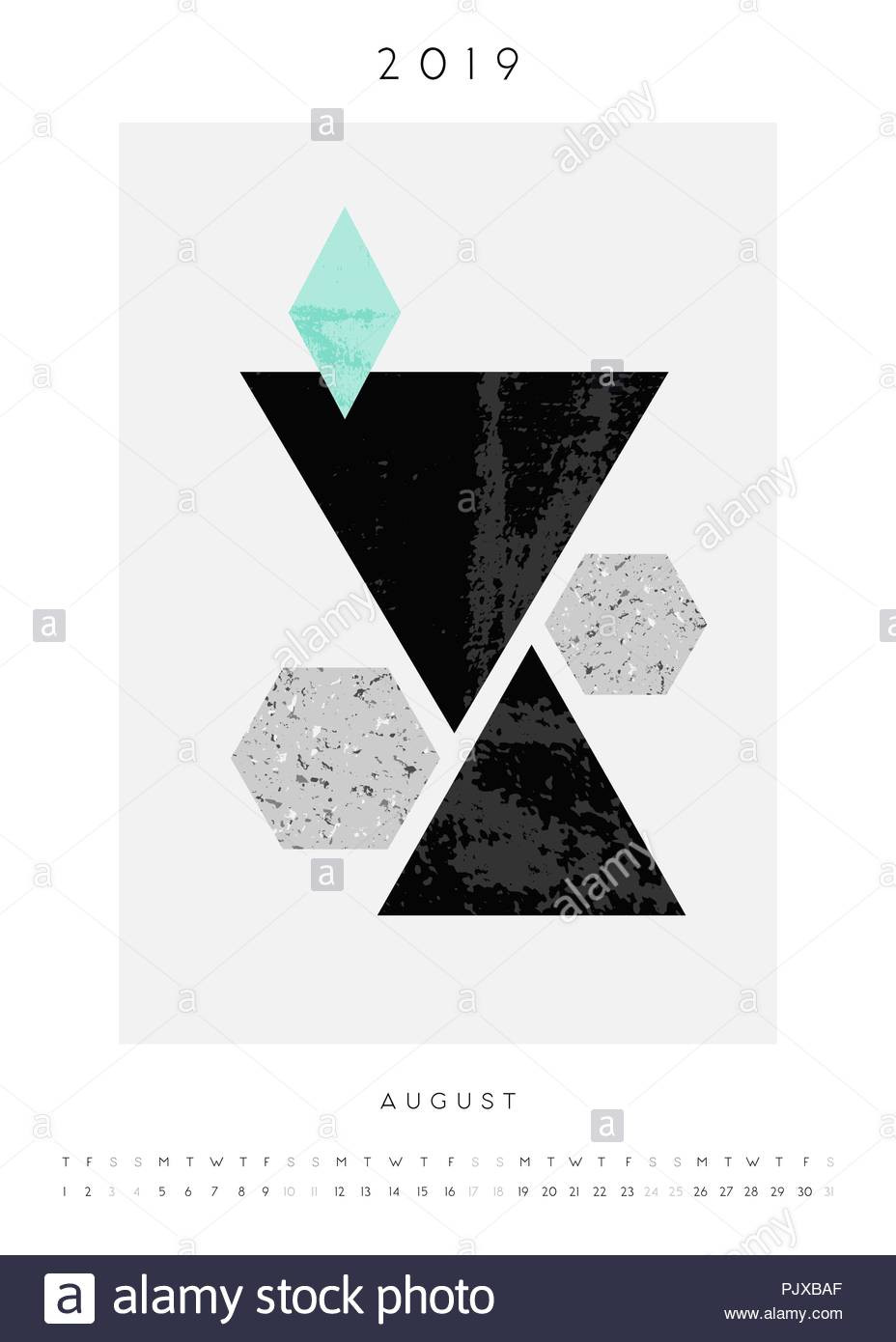 Geometry Template Printable Printable A4 Size August 2019 Calendar Template Abstract