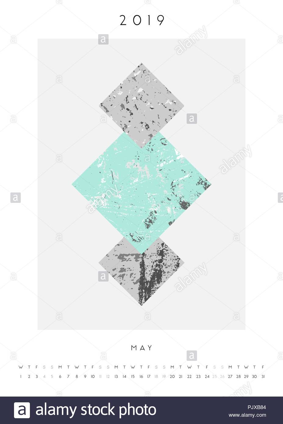 Geometry Template Printable Printable A4 Size May 2019 Calendar Template Abstract