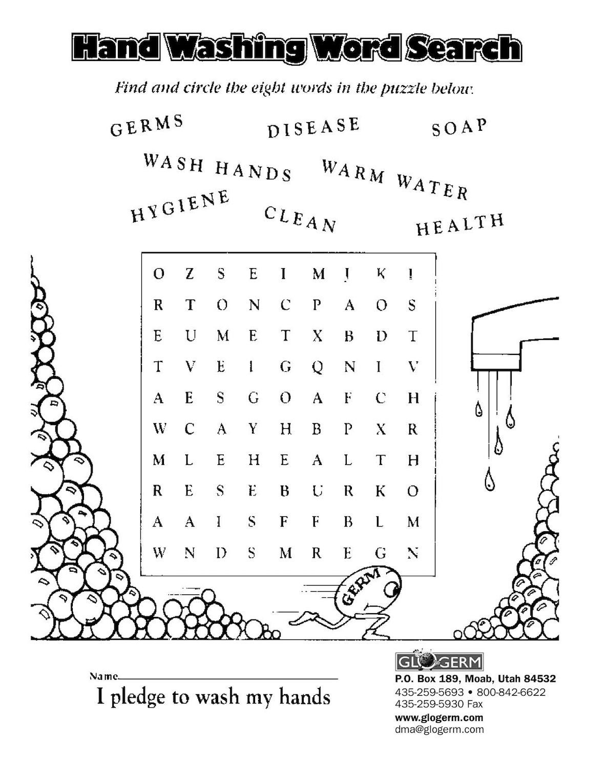 Germ Worksheets for First Grade Glo Germ Kit Lessons