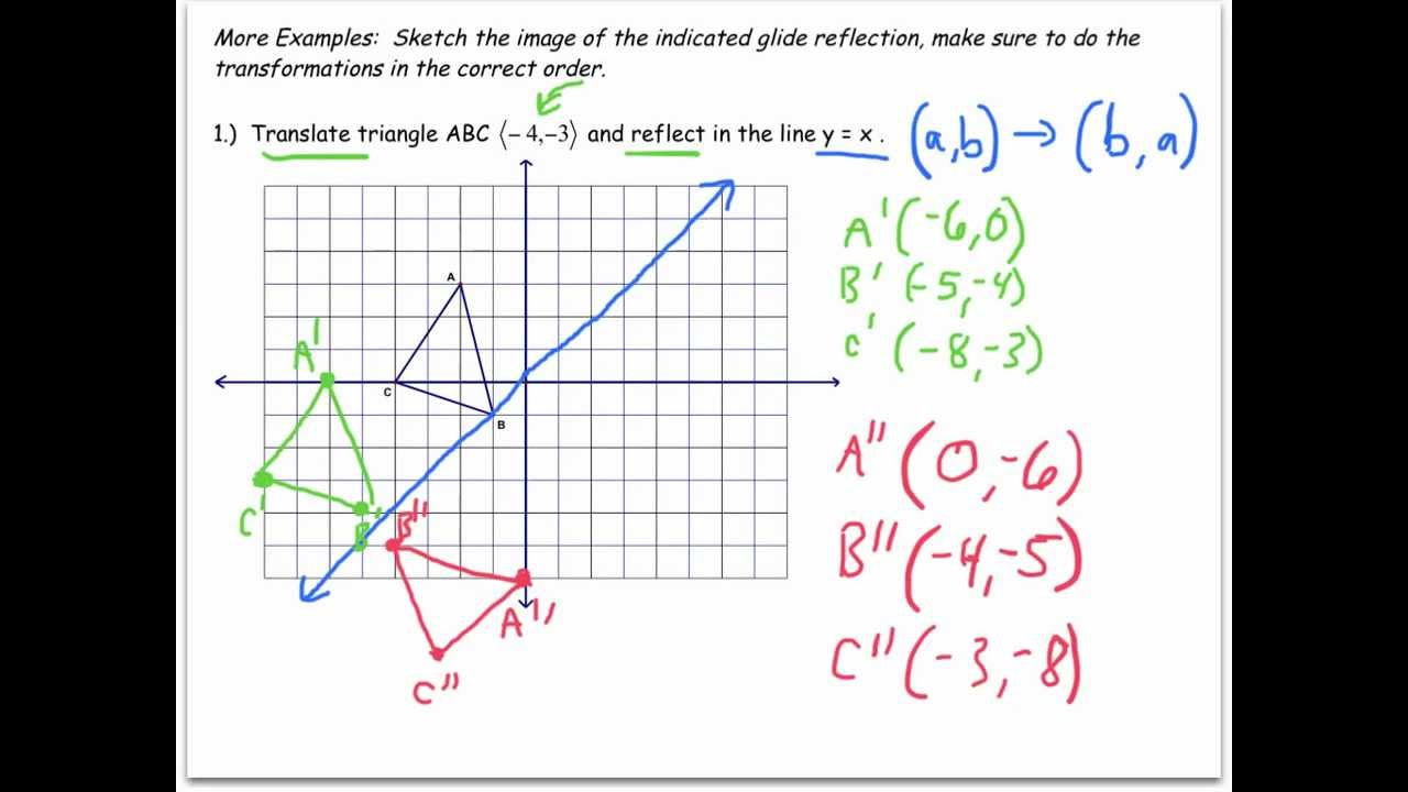 Glide Reflection Math is Fun Transformation In Geometry Worksheets Videos Games