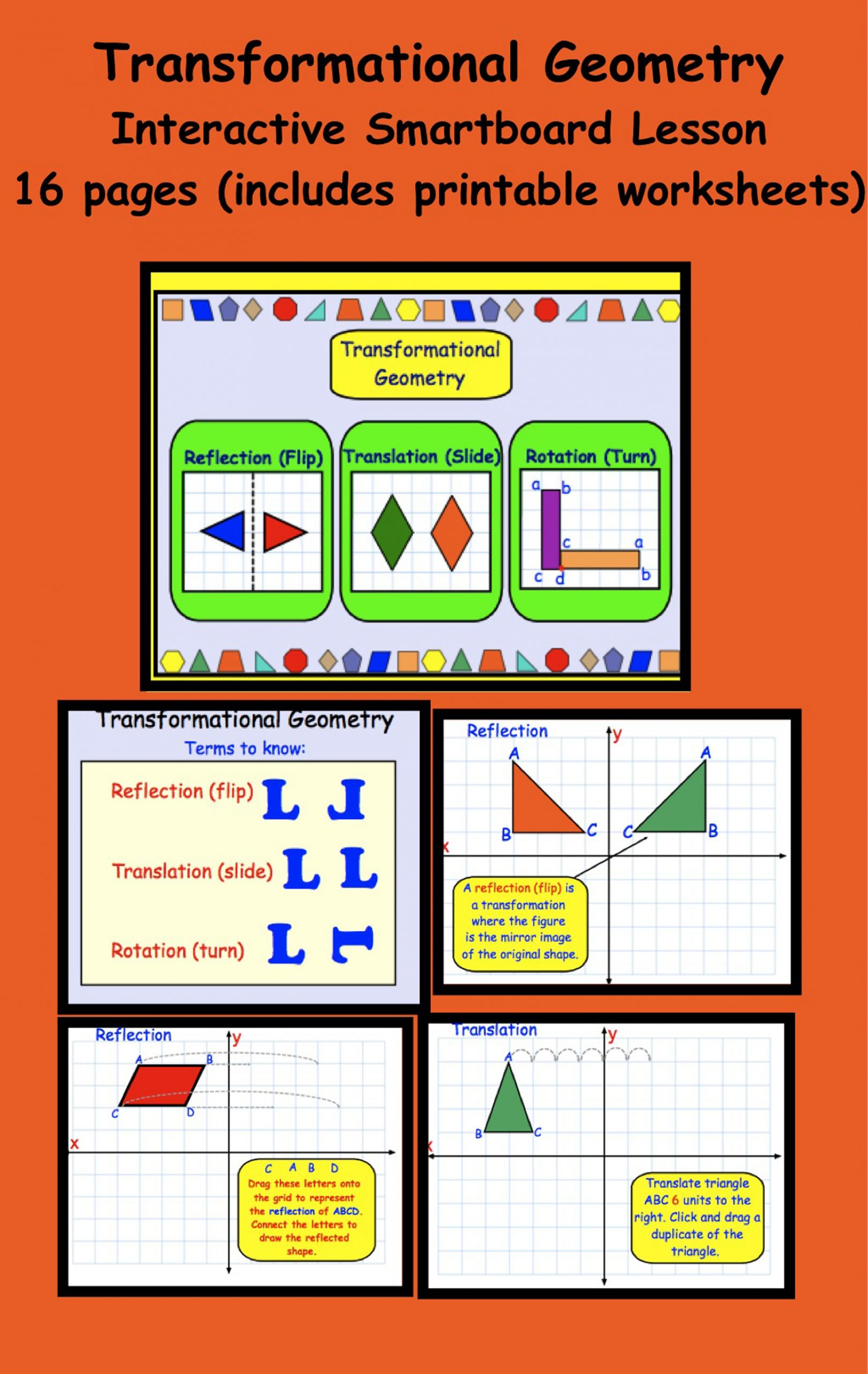 Glide Reflection Math is Fun Transformational Geometry Gr 5 6 Interactive Smartboard