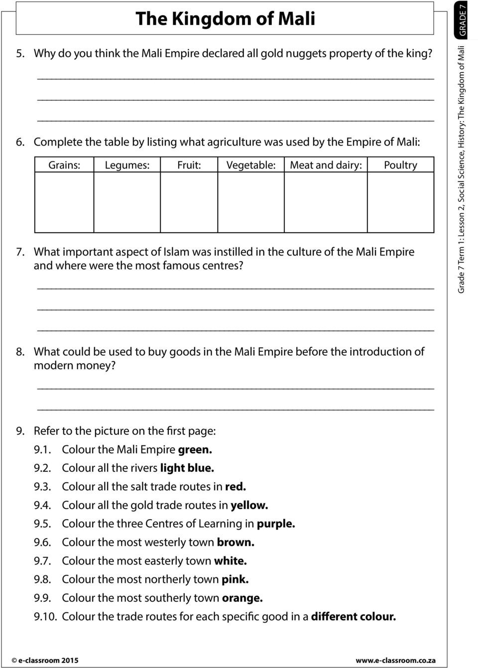 Grade 7 social Studies Worksheets the Kingdom Of Mali Read Through the Worksheet and Allow