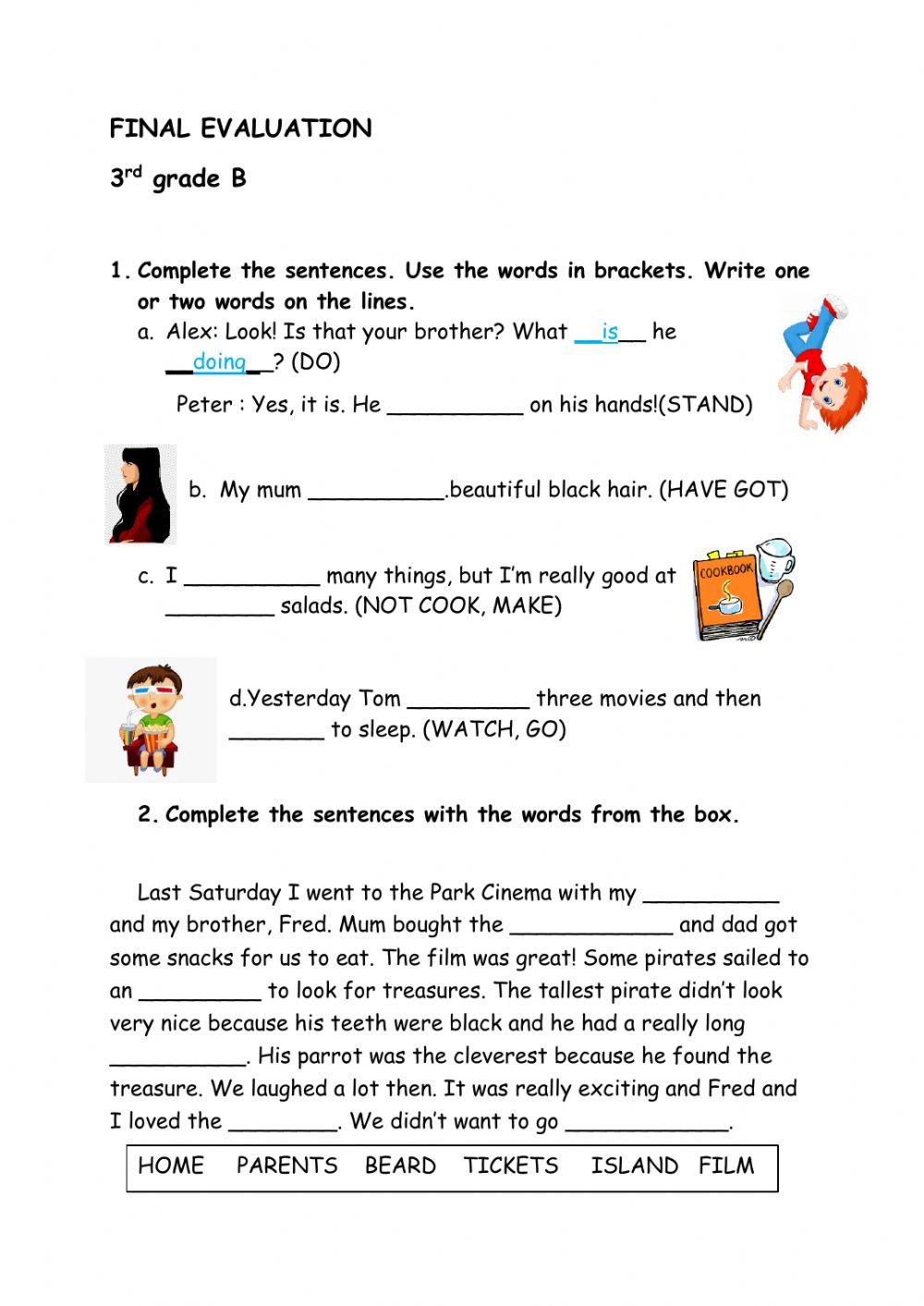 Grammar 3rd Grade Worksheets Final Evaluation 3rd Grade Esl Interactive Worksheet