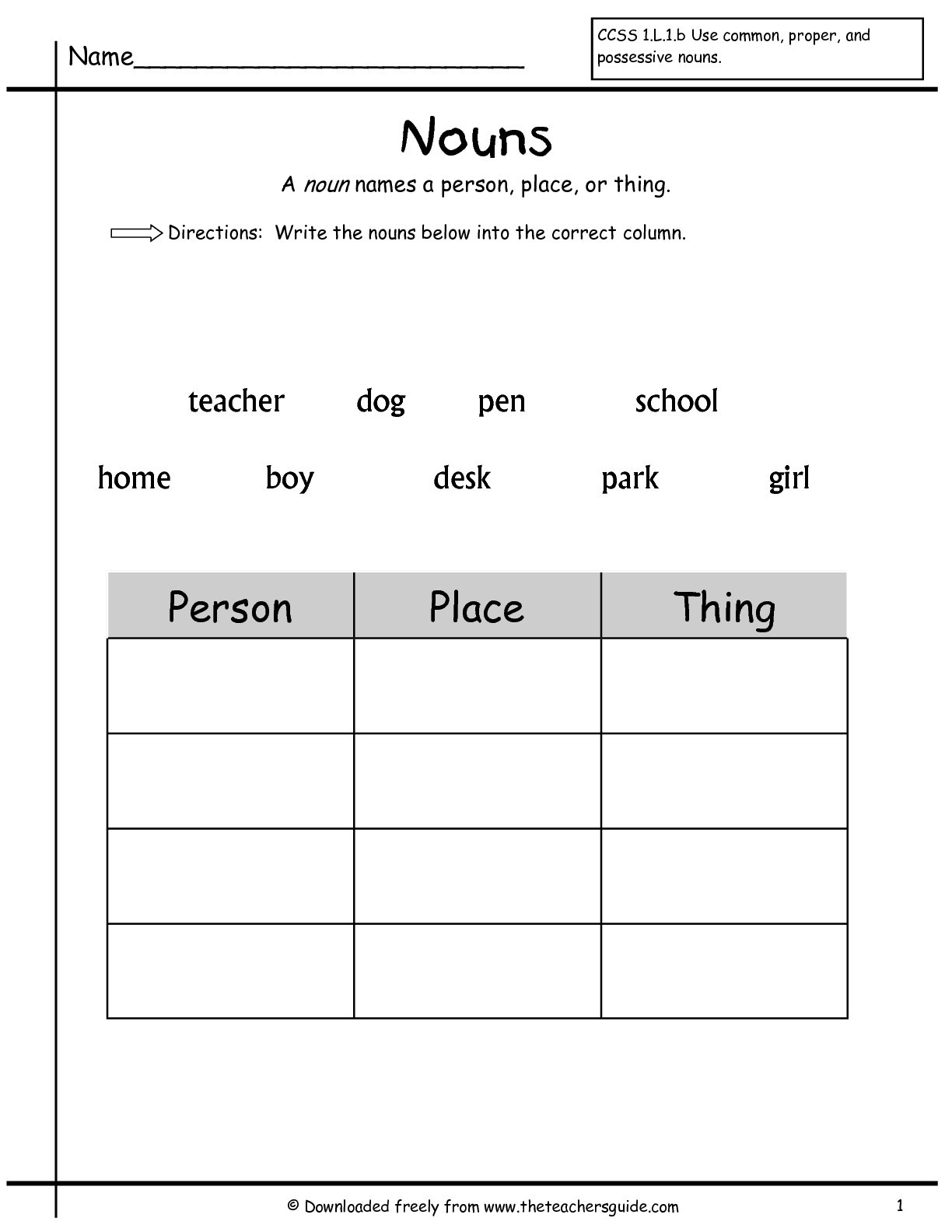 Grammar Worksheet First Grade Noun Worksheet Person Place Thing
