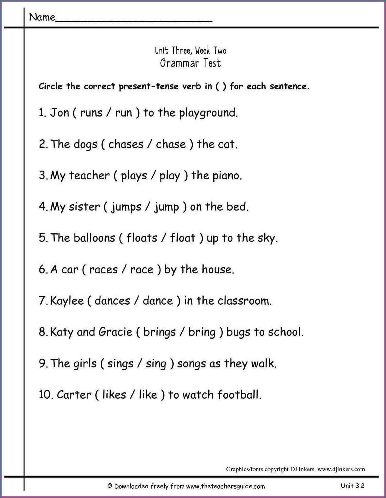 Grammar Worksheets for 2nd Grade Math Worksheet 2nd Grade Grammarets Second Printable Free