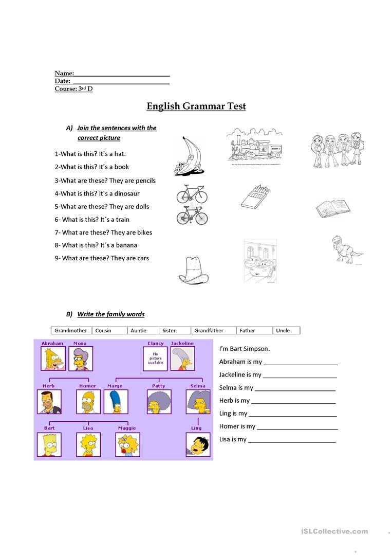 Grammar Worksheets for 3rd Grade 3rd Grade Evaluation English Esl Worksheets for Distance