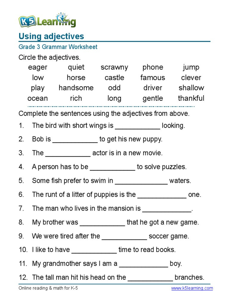 Grammar Worksheets for 3rd Grade Grammar Worksheet Grade Adjectives Sentences Syntax English