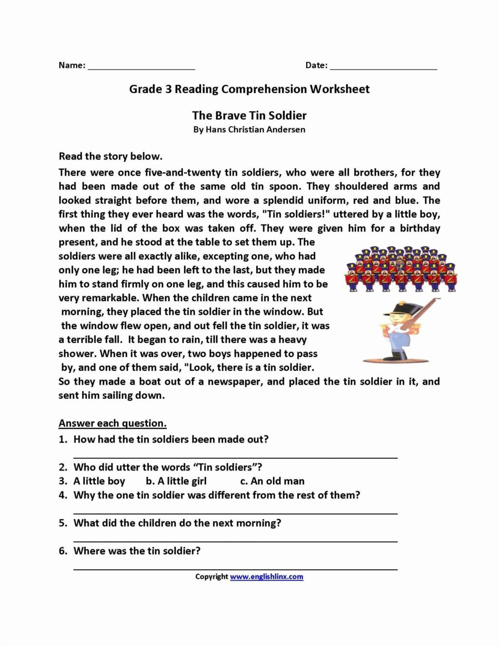 Grammar Worksheets for 3rd Grade Worksheet Free 2nd Grade Reading Prehension