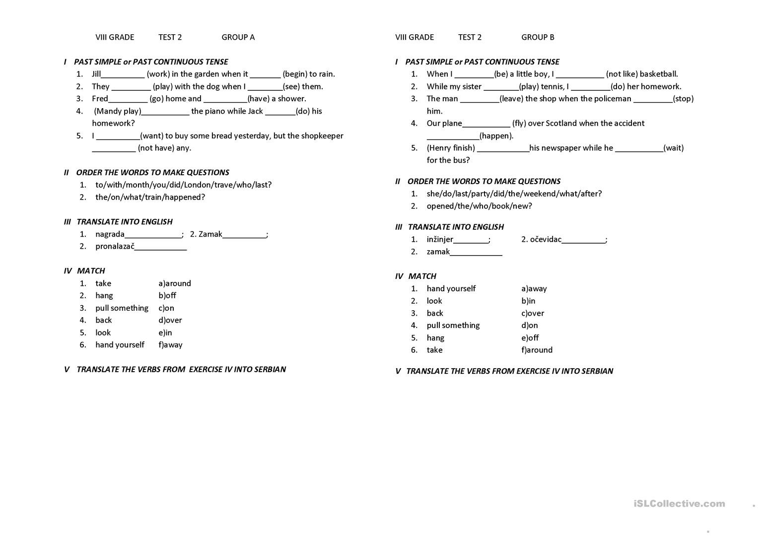 Grammar Worksheets for 8th Graders 8th Grade Test for Serbian Children English Esl Worksheets