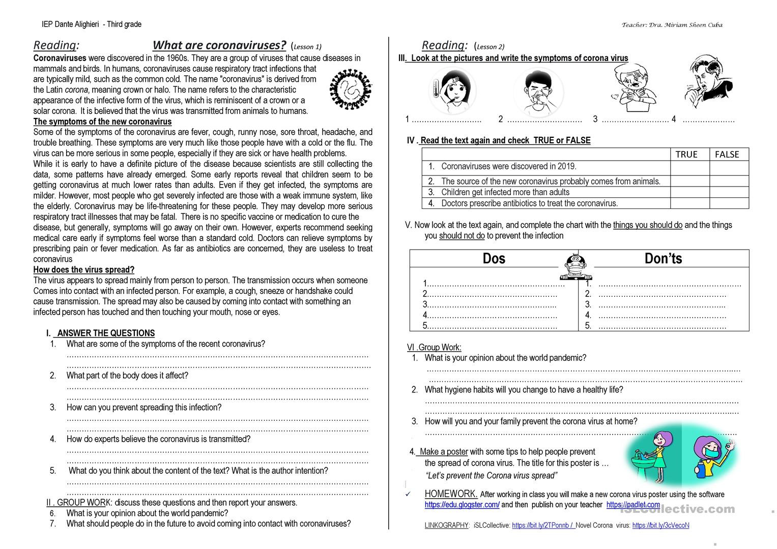 Grammar Worksheets High School Corona Virus Worksheet Secondary School English Esl