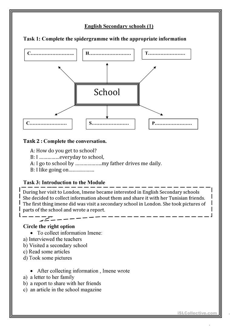 Grammar Worksheets High School English Secondary Schools 1 English Esl Worksheets for