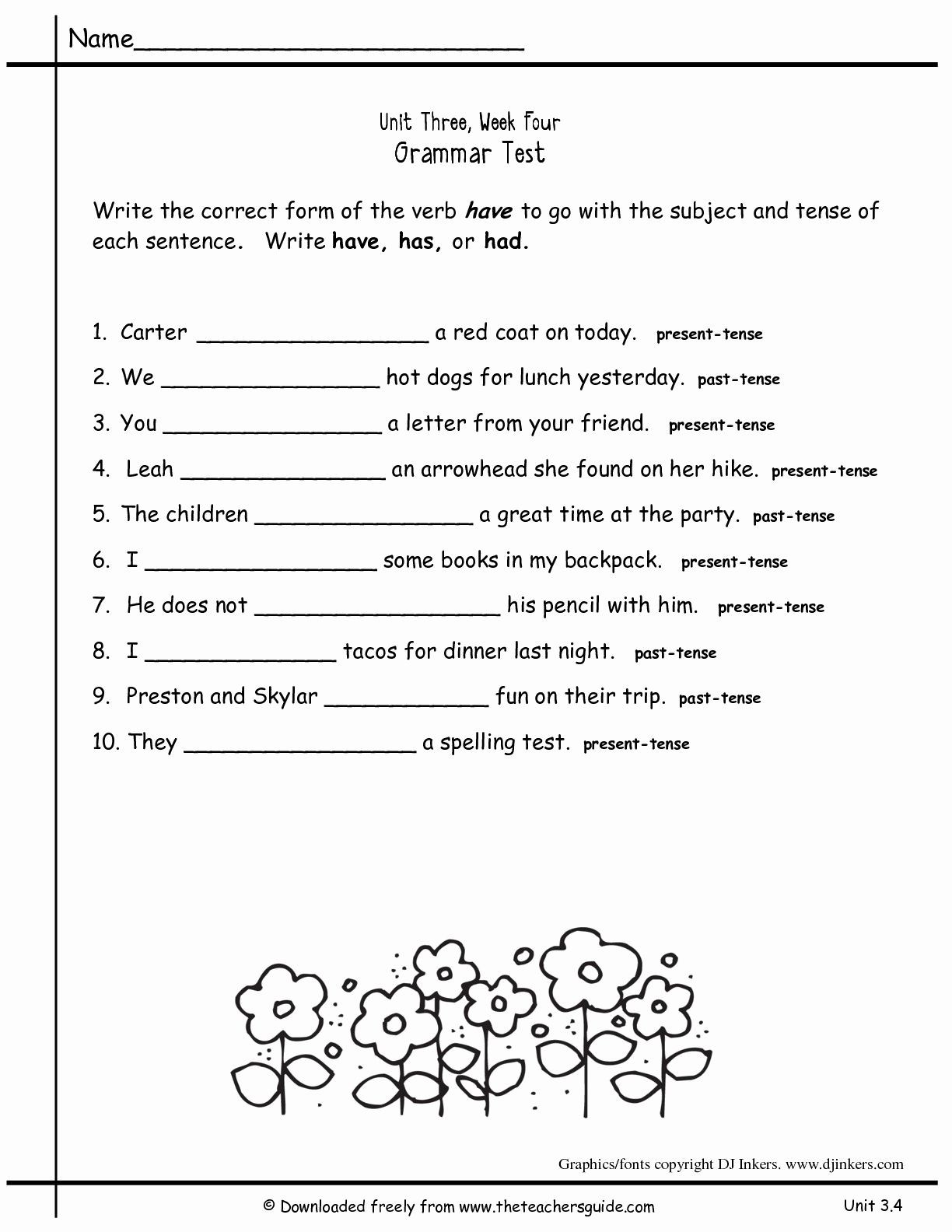 Grammar Worksheets Middle School Pdf 2nd Grade Grammar Worksheets Pdf New Worksheets for All
