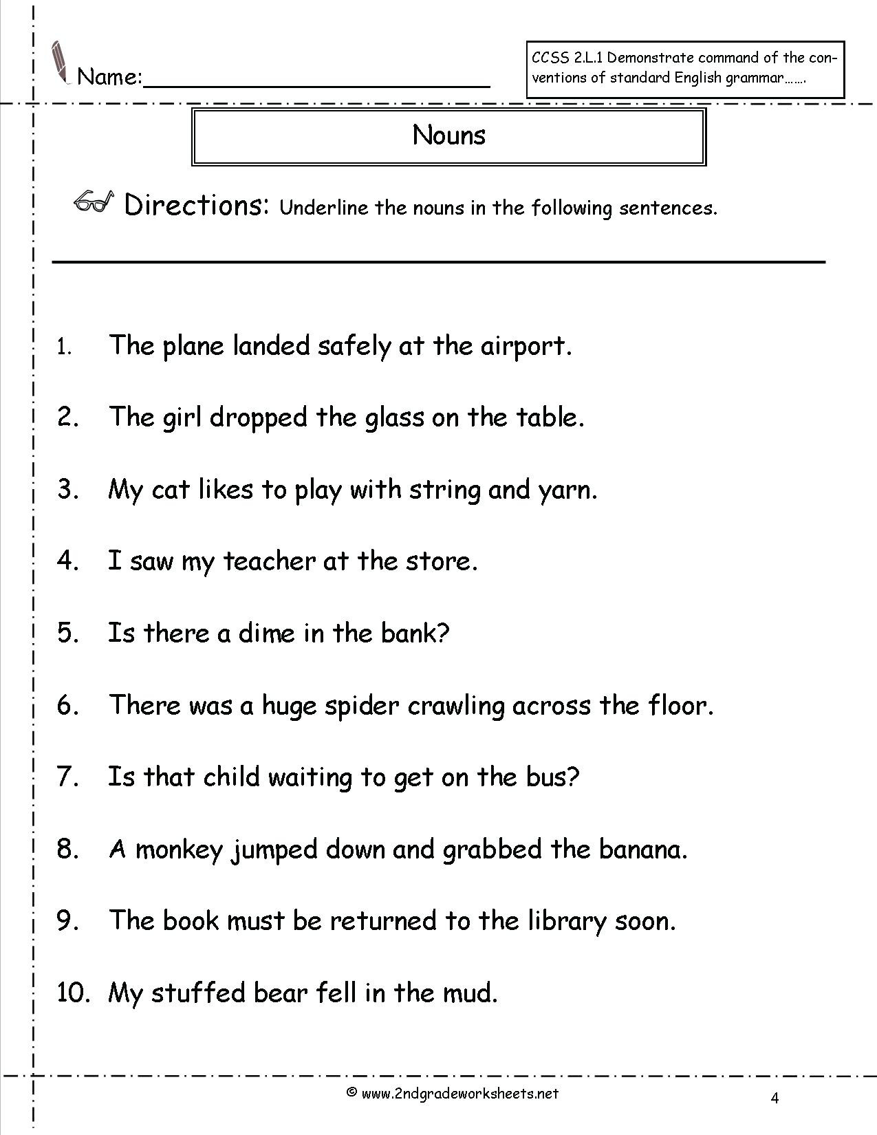 Grammar Worksheets Middle School Pdf Noun Worksheet Nouns Worksheet Grammar Worksheets for Grade