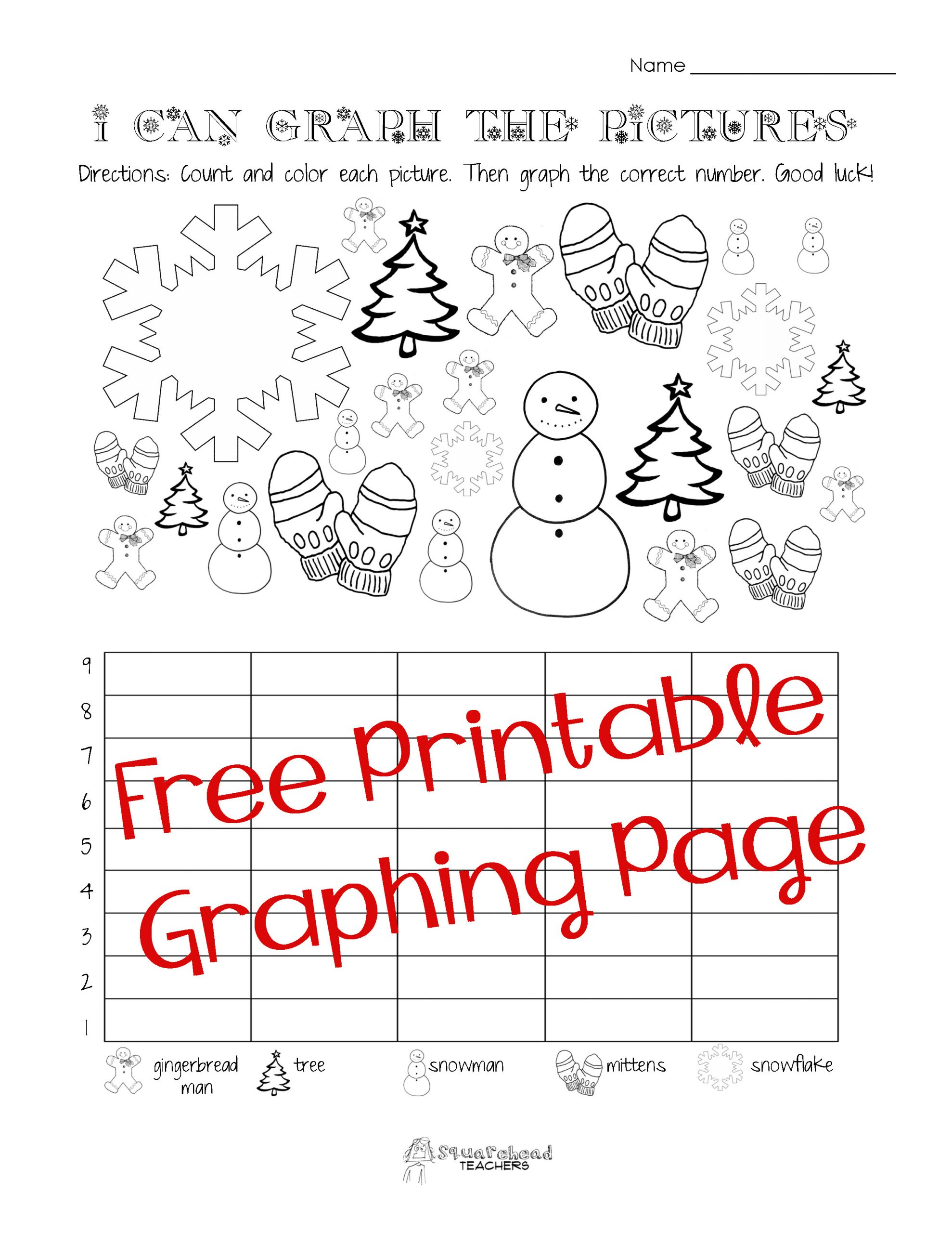 Graphing Worksheets for First Grade Free Christmas Winter Graphing Worksheet Kindergarten