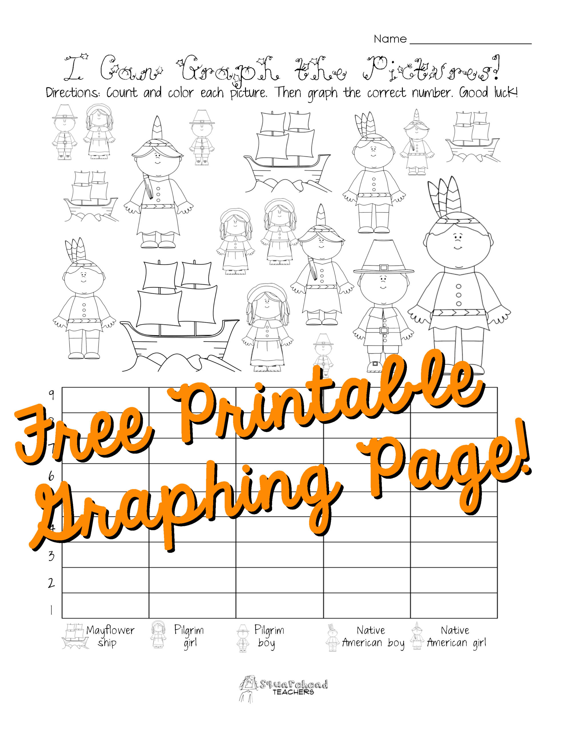 Graphing Worksheets for First Grade Free Thanksgiving Graphing Worksheet Kindergarten First
