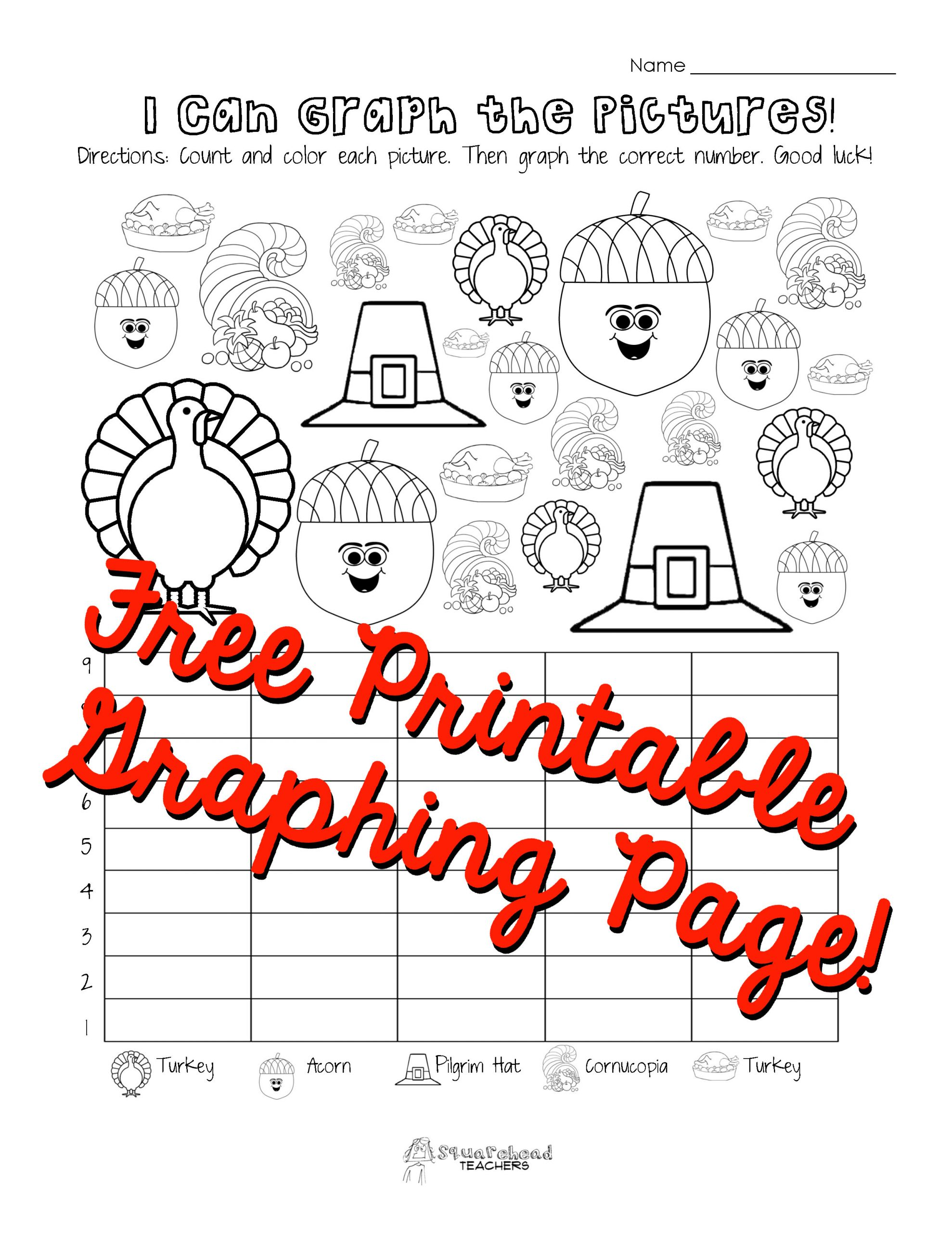 Graphing Worksheets for First Grade Thanksgiving Graphing Page Kindergarten First Grade