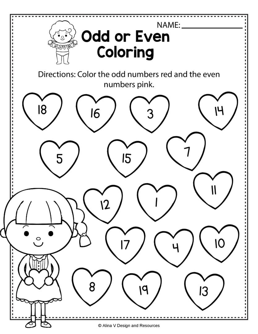 Graphing Worksheets for First Grade Worksheets Valentine Odd even Coloring Math Worksheets