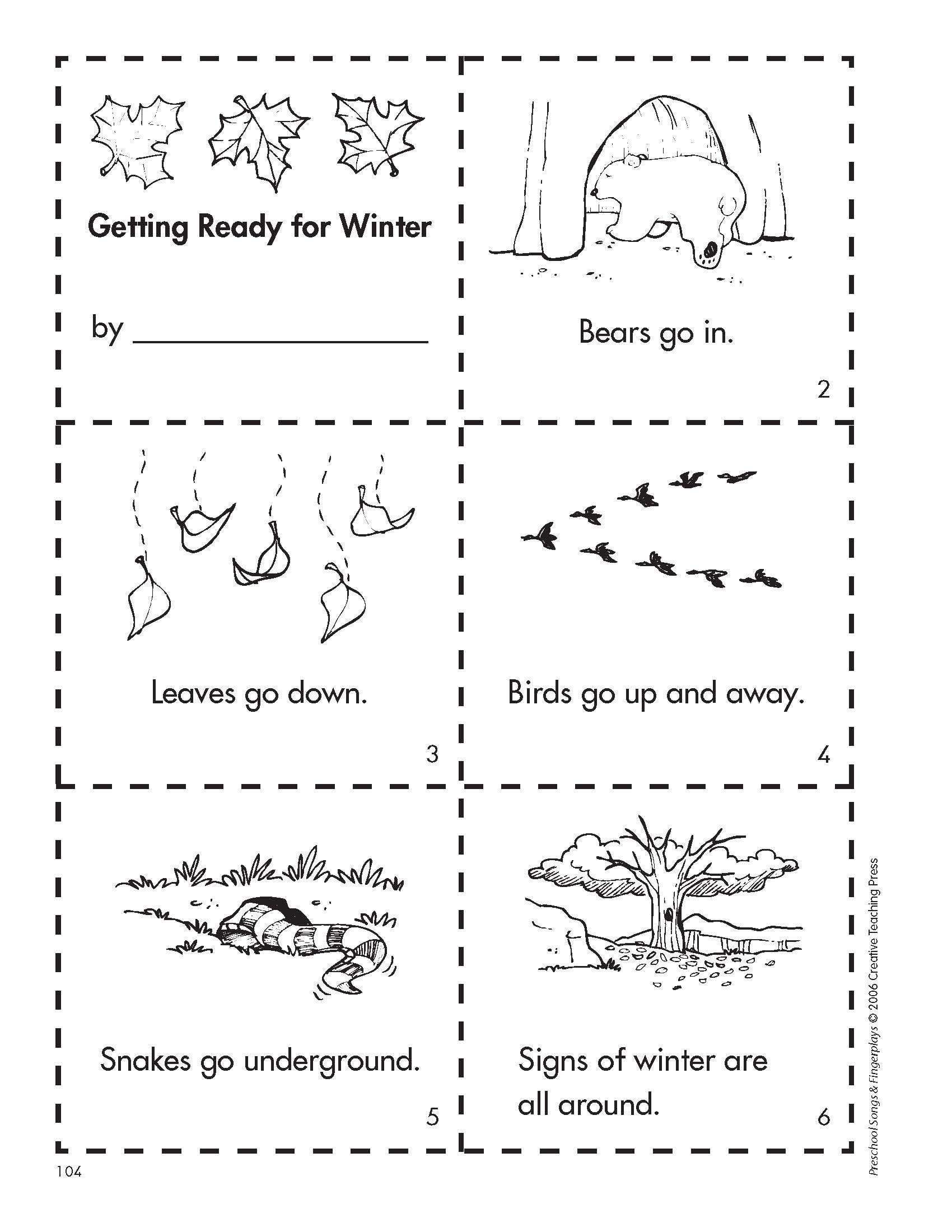 Hibernation Worksheet for Preschool Get Ready for Winter with This Free Minibook Reproducible
