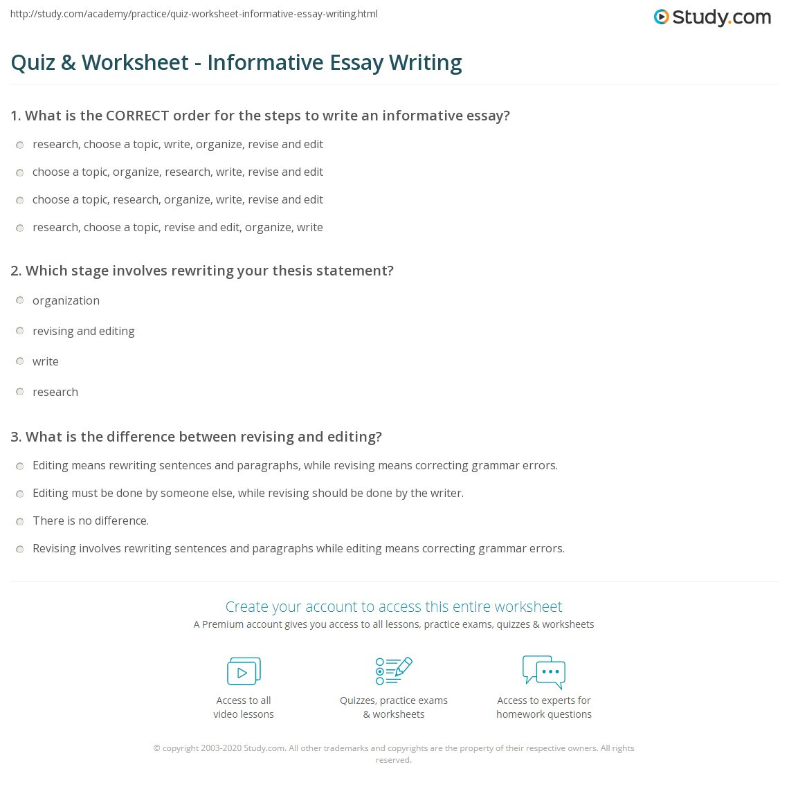 High School Essay Writing Worksheets Quiz & Worksheet Informative Essay Writing