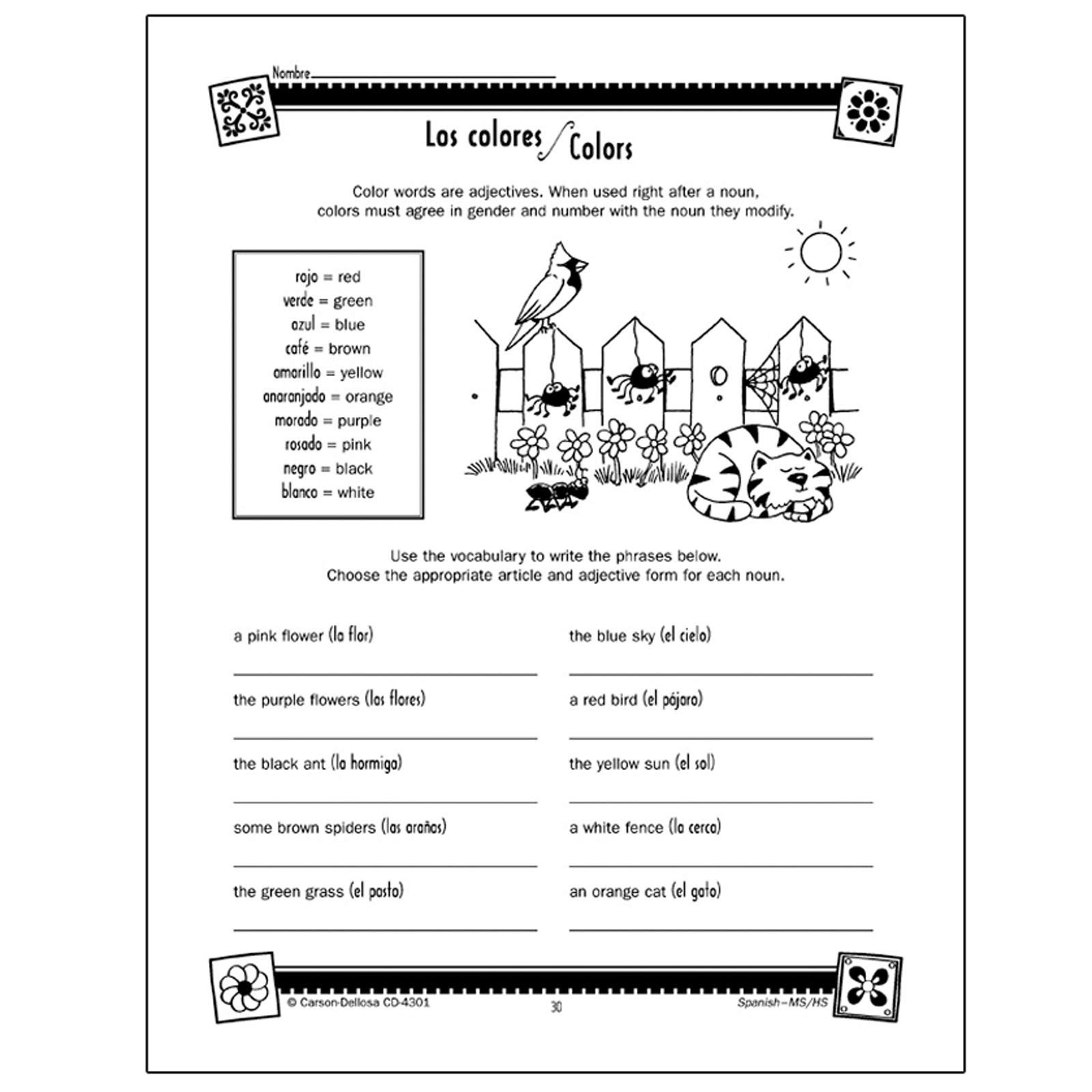 High School Spanish Worksheets Carson Dellosa Skills for Success Spanish Workbook