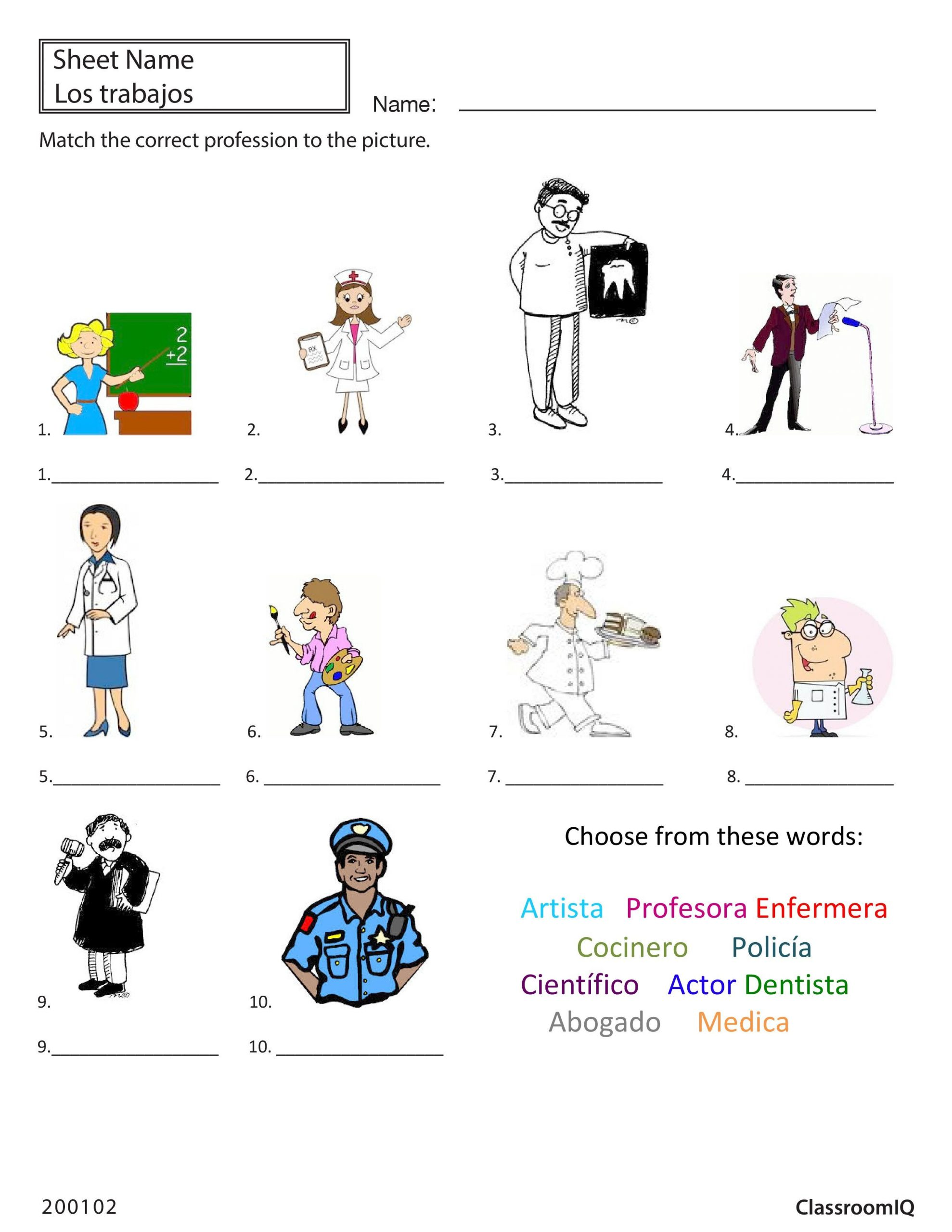 High School Spanish Worksheets Spanish Professions Worksheet From Classroomiq