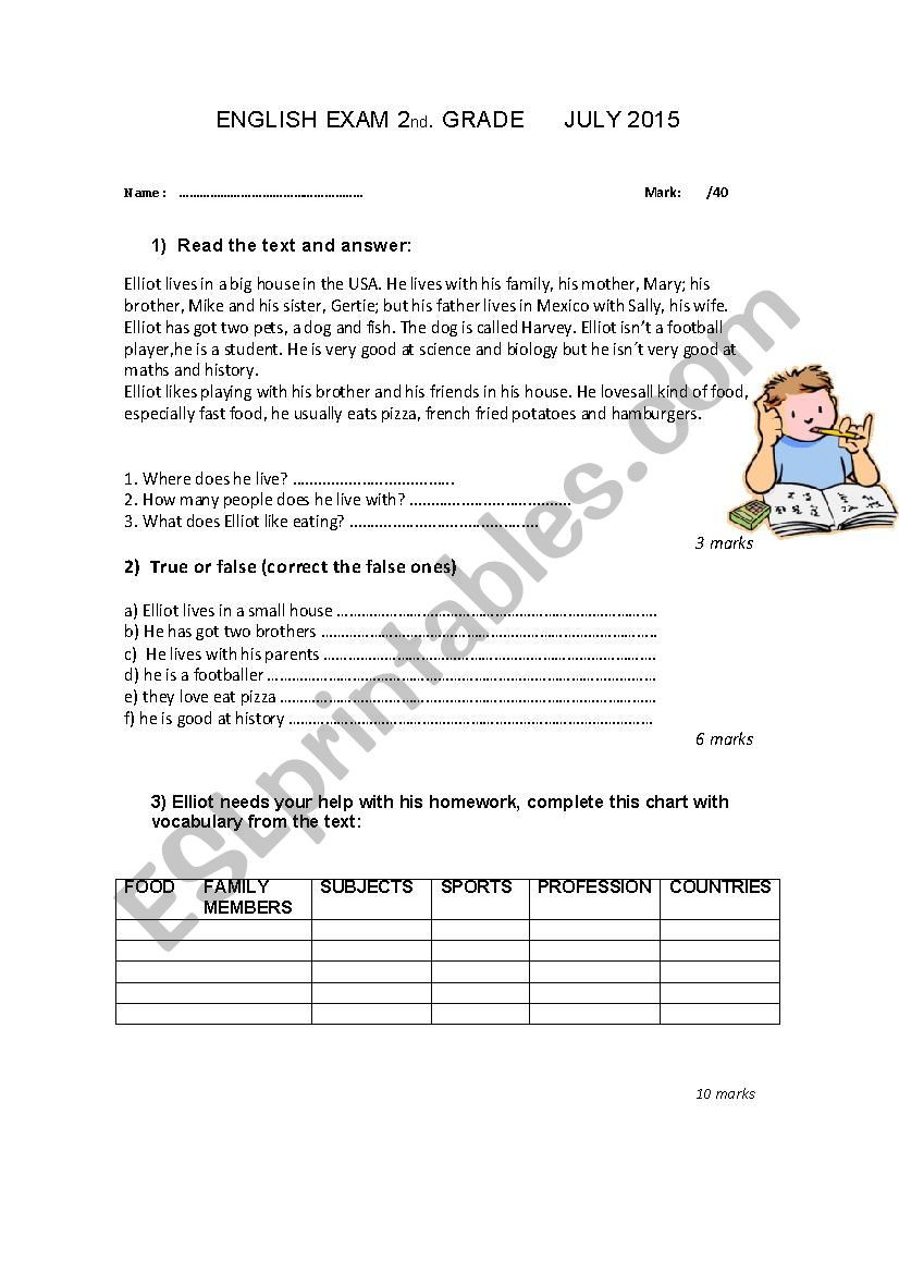 History Worksheets for 2nd Grade English Exam 2nd Grade Esl Worksheet by Carkar308