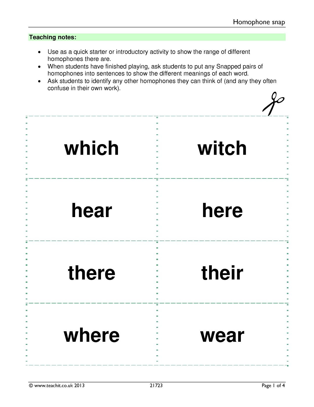 Homonym Worksheets High School Free Printable Homophone Worksheet