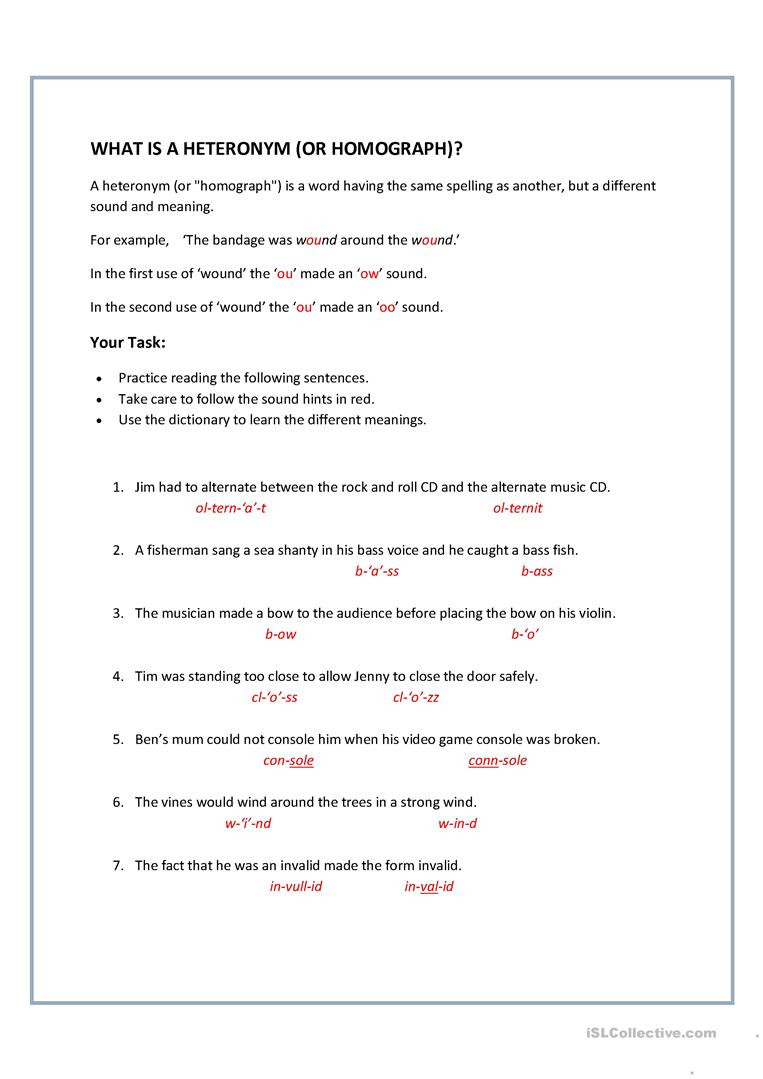 Homonym Worksheets High School Homographs Heteronyms English Esl Worksheets for