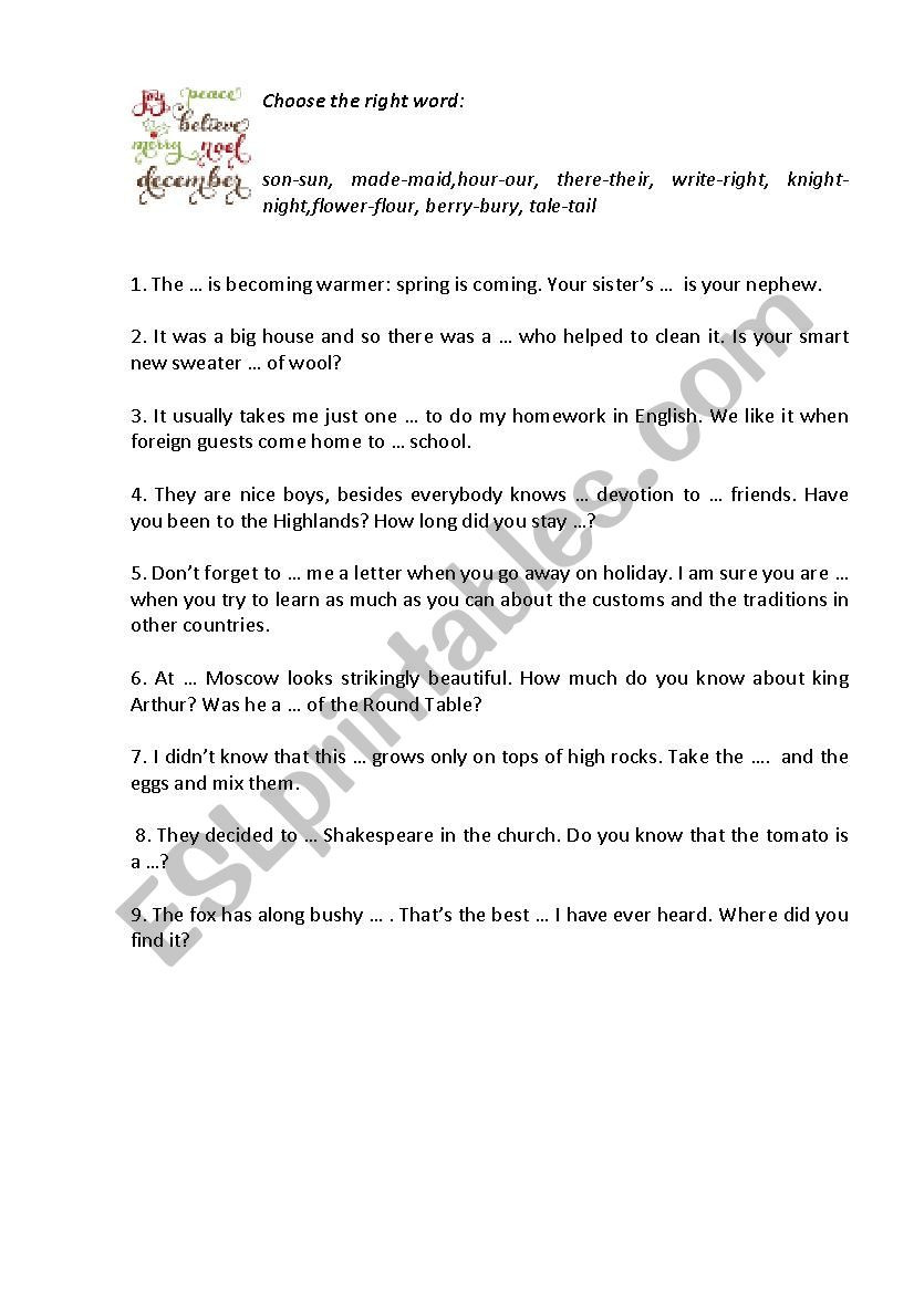 Homonym Worksheets High School Homonyms Esl Worksheet by Shchurko