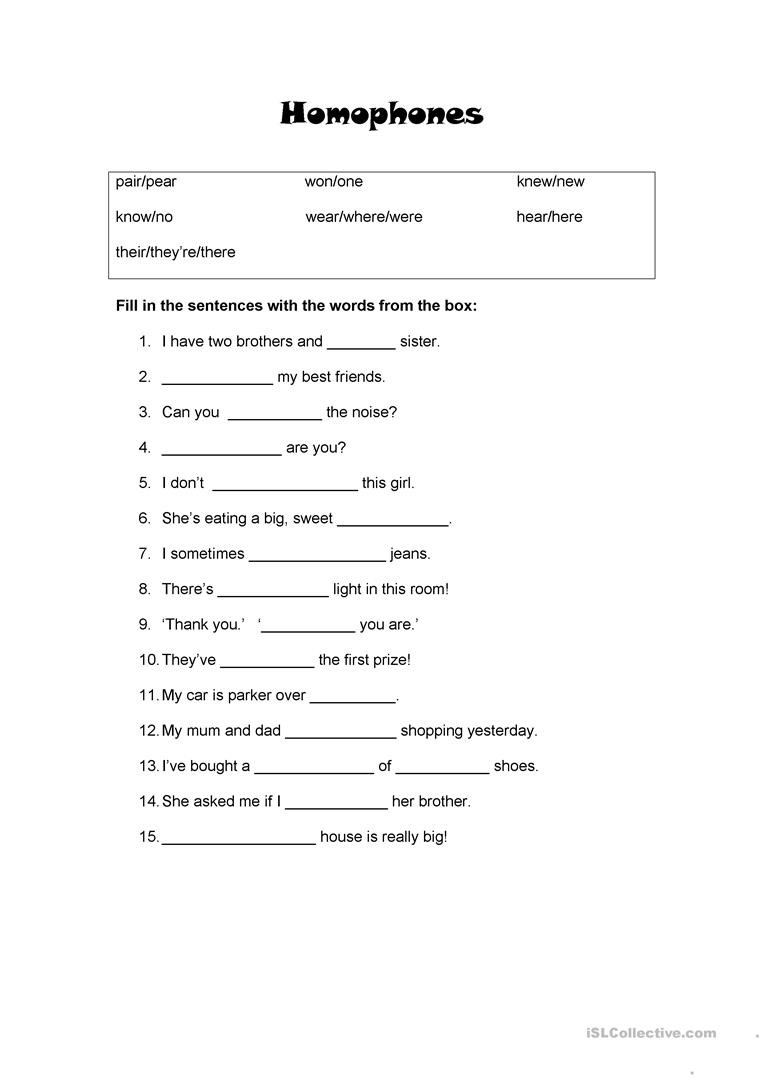 Homonym Worksheets High School Homophones for Beginners English Esl Worksheets for