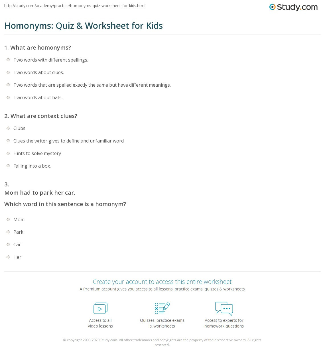 Homonym Worksheets Middle School Homonyms Quiz & Worksheet for Kids
