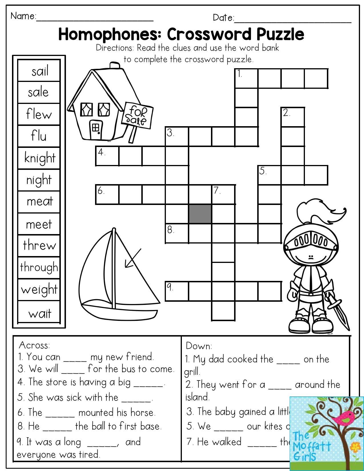 Homonyms Worksheets 5th Grade Homophones Crossword Puzzle Read the Clues and Use the