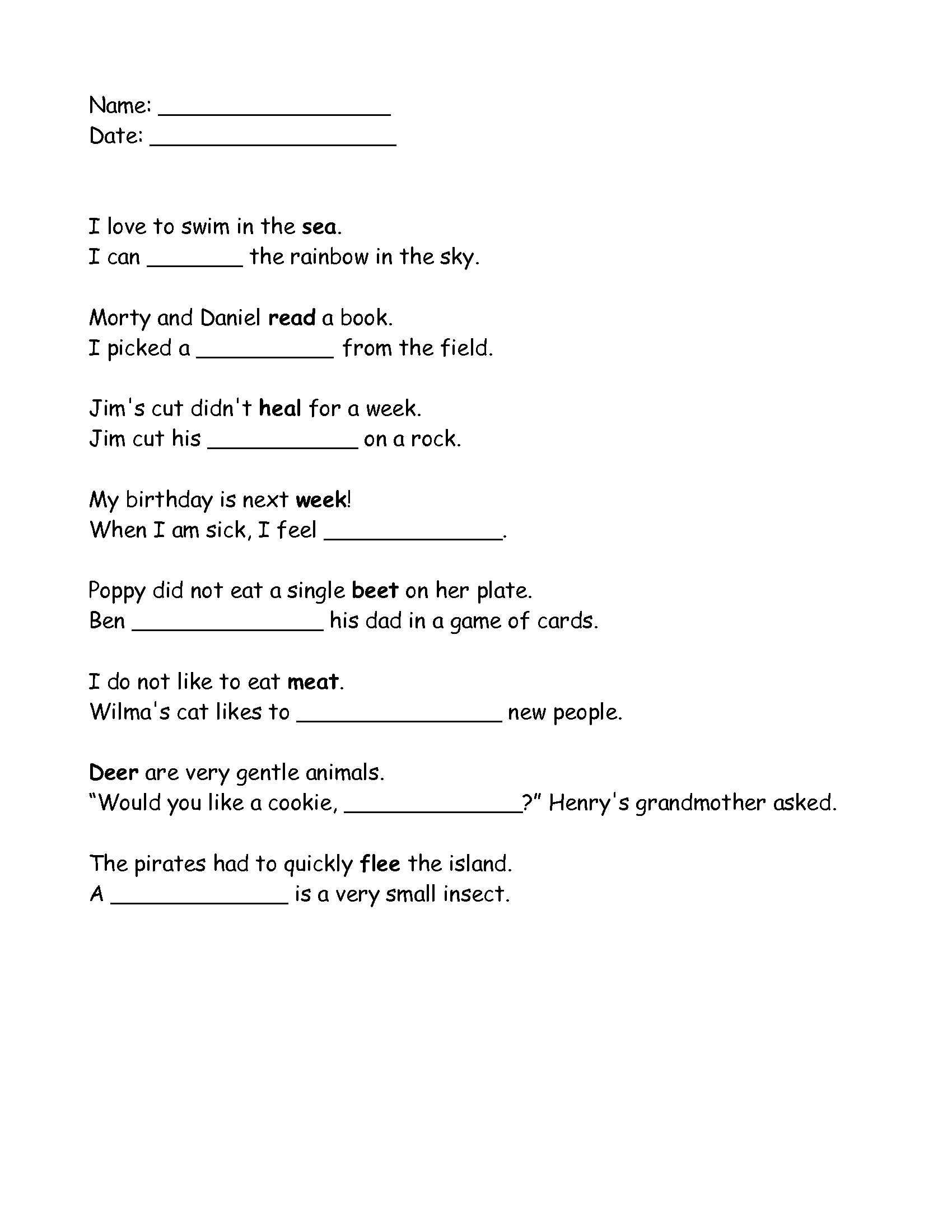 Homophone Worksheet 4th Grade Grade 2 Homophones Ee and Ea Worksheet that I Made Click