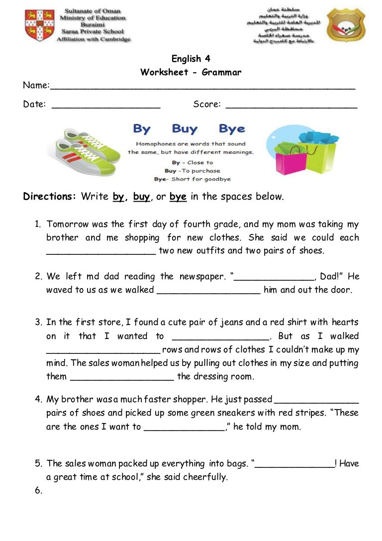 Homophones Worksheet 4th Grade Homophones 2 Worksheet