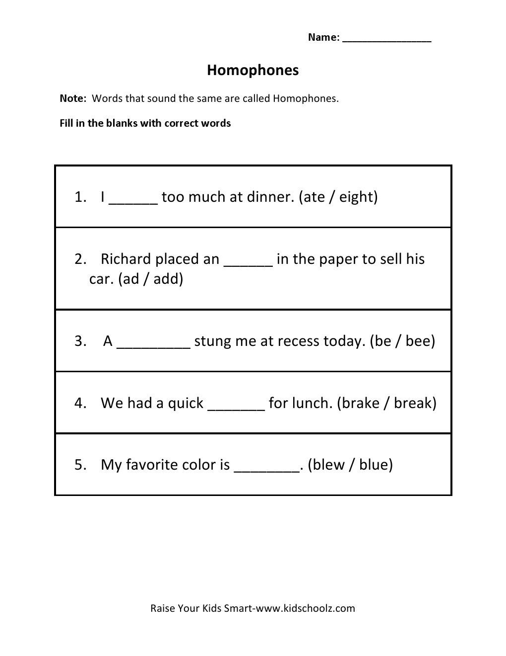 Homophones Worksheet 4th Grade Homophones Worksheets for Grade 5