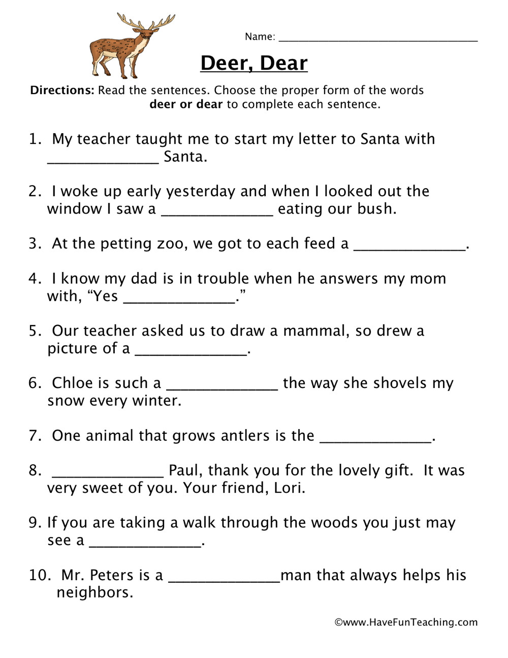 Homophones Worksheet 5th Grade Deer Dear Homophones Worksheet