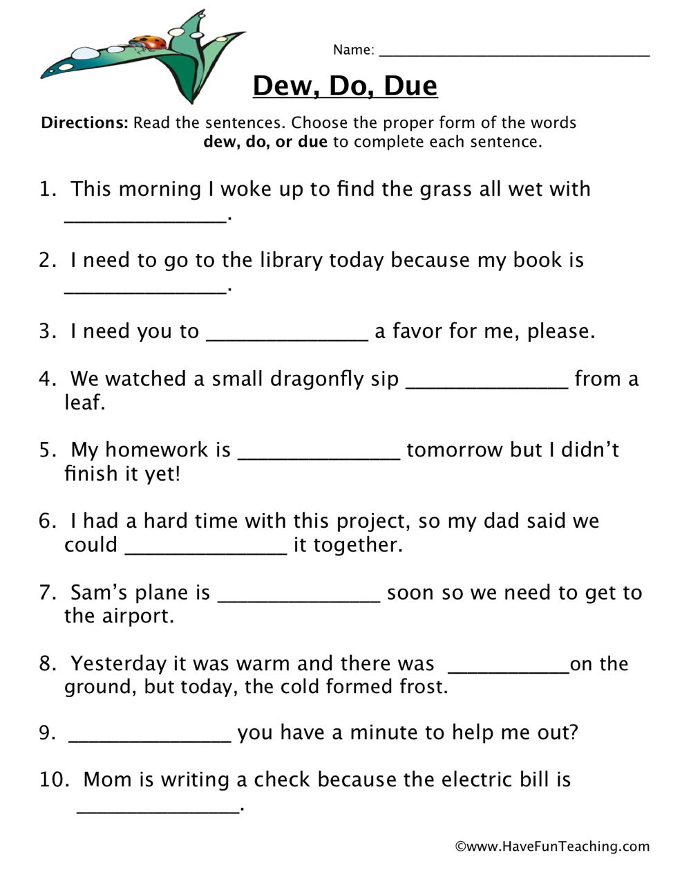 Homophones Worksheet 5th Grade Dew Do Due Homophones Worksheet